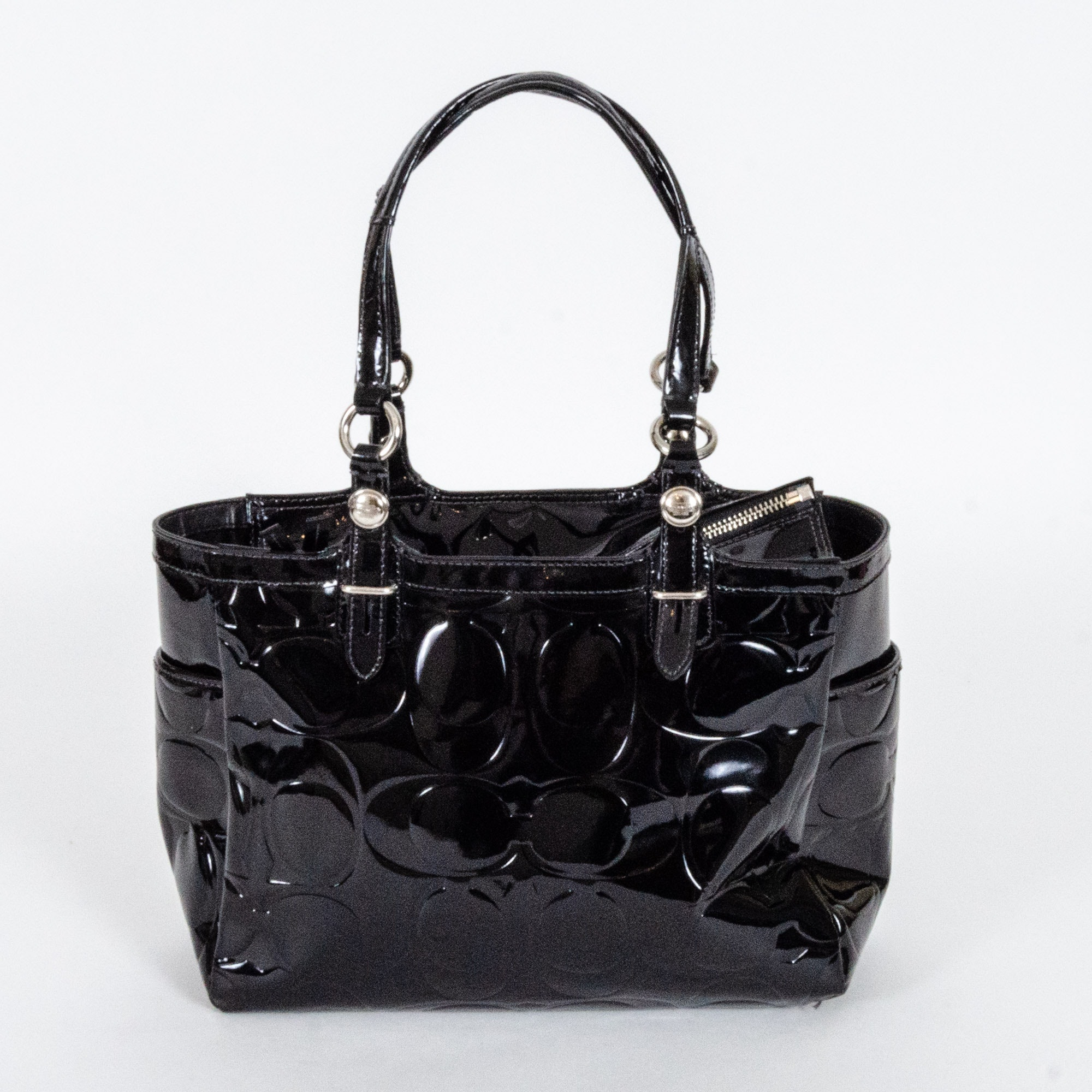 Coach Gallery Embossed Black Patent Leather Handbag
