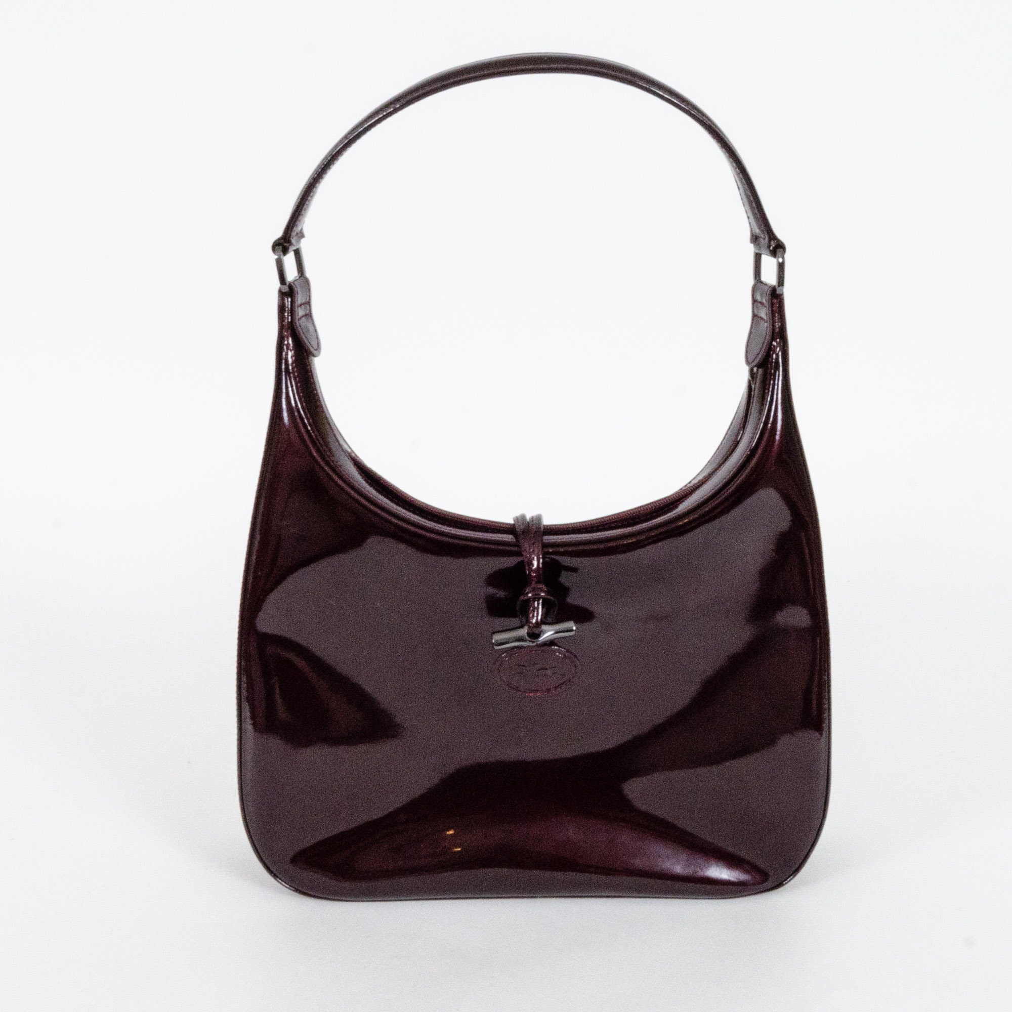 Longchamp Deep Wine Patent Leather Handbag
