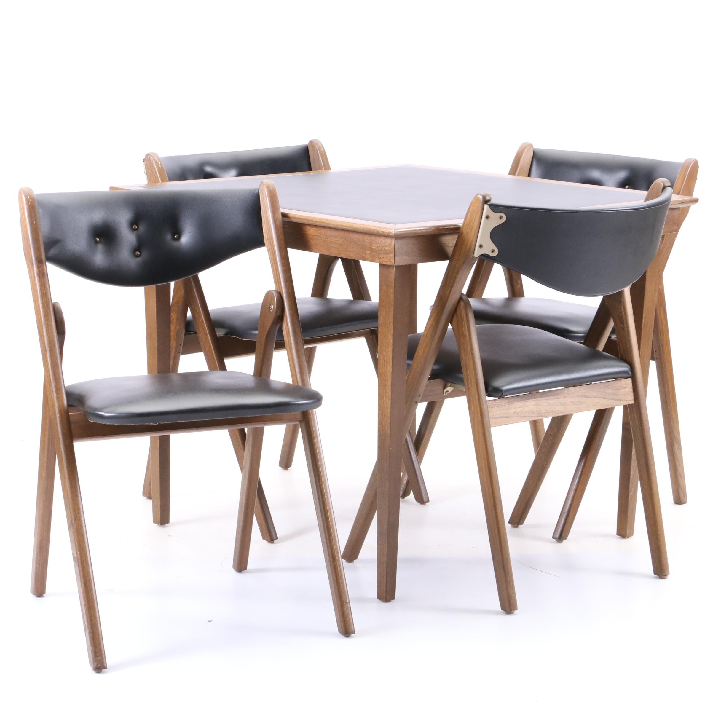 Folding Table and Chairs, Mid-20th Century