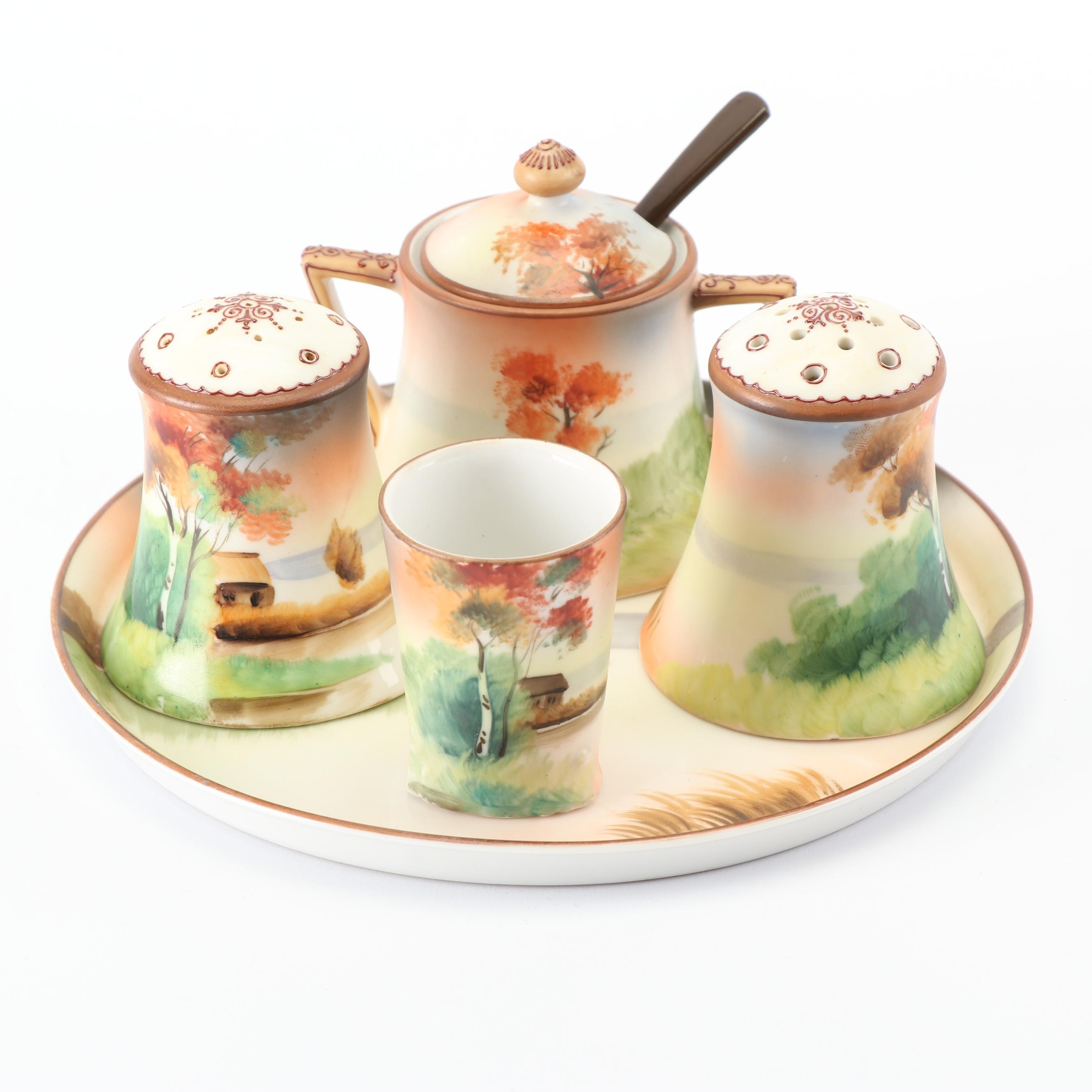 Hand Painted Nippon Condiment Tray