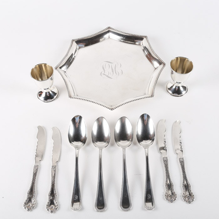 """Dominick & Haff """"Mazarin"""" Butter Spreaders with Other Sterling Silver Tableware"""