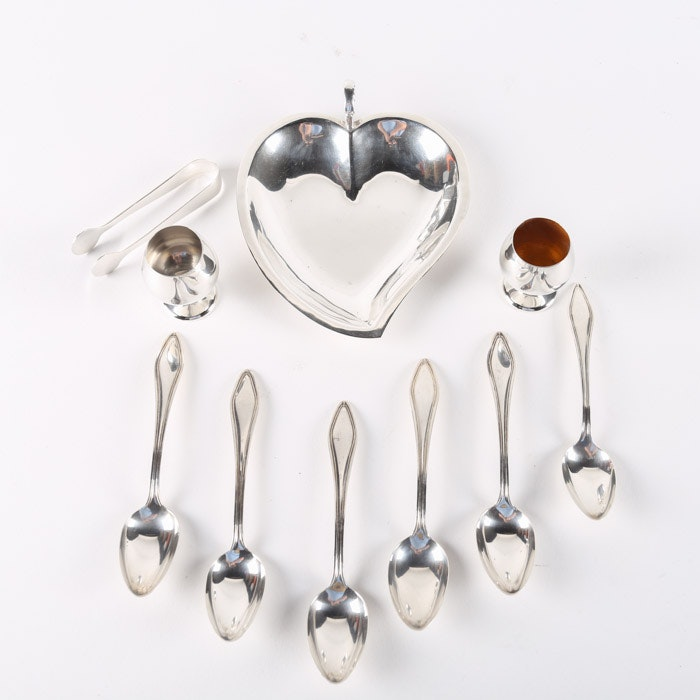 """Towle """"Mary Chilton"""" Sterling Teaspoons with Other Sterling Tableware"""