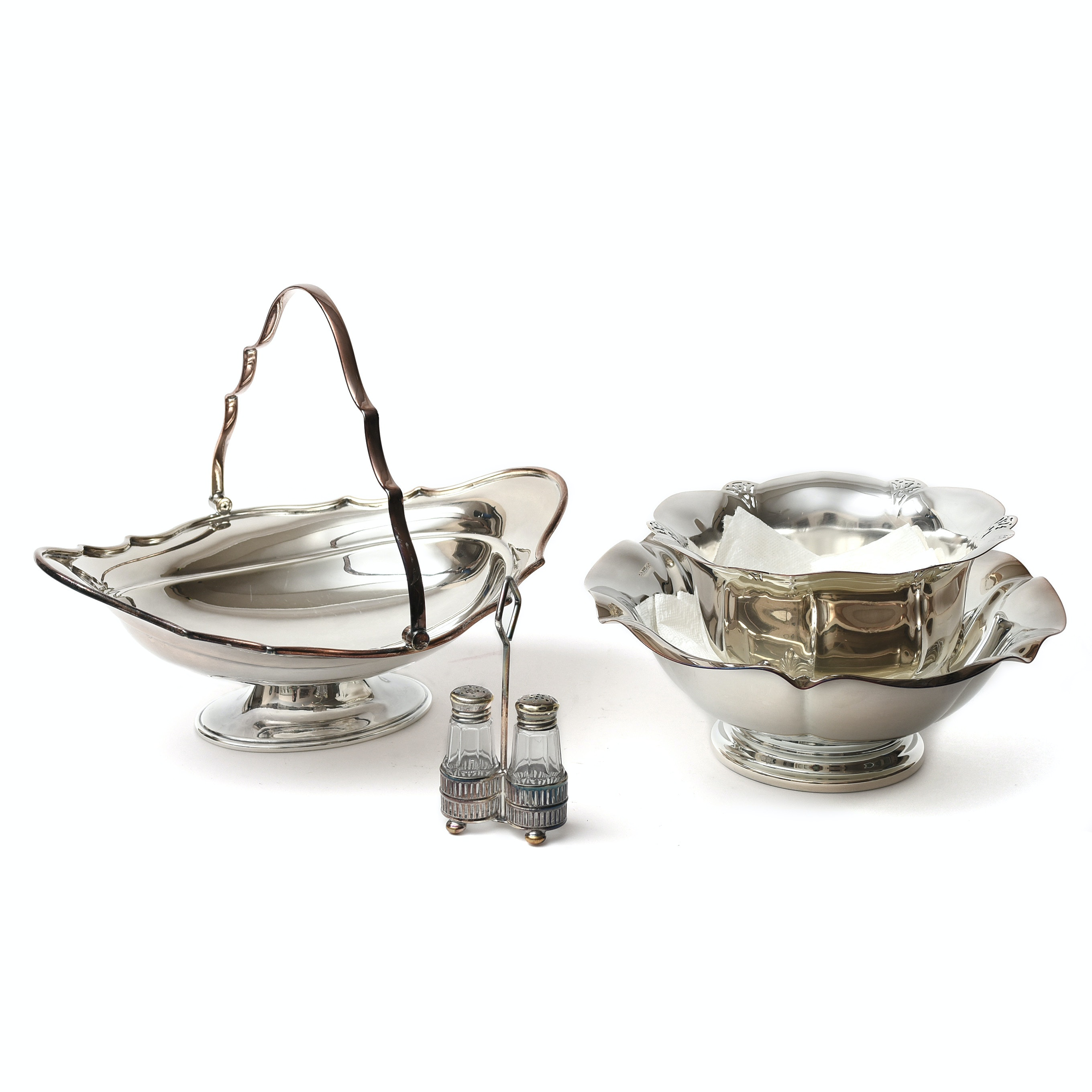 Silver Plate Basket, Salt and Pepper Set and Bowls