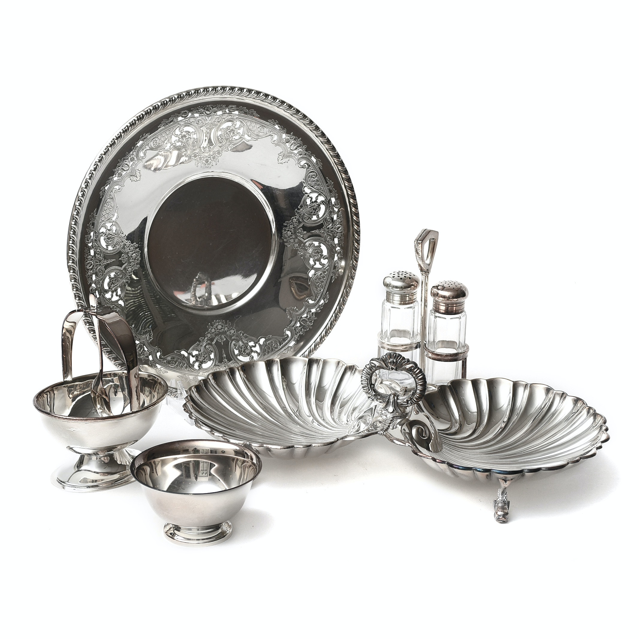 Silver Plate Tray, Shell Bowl, Salt and Pepper Set and More