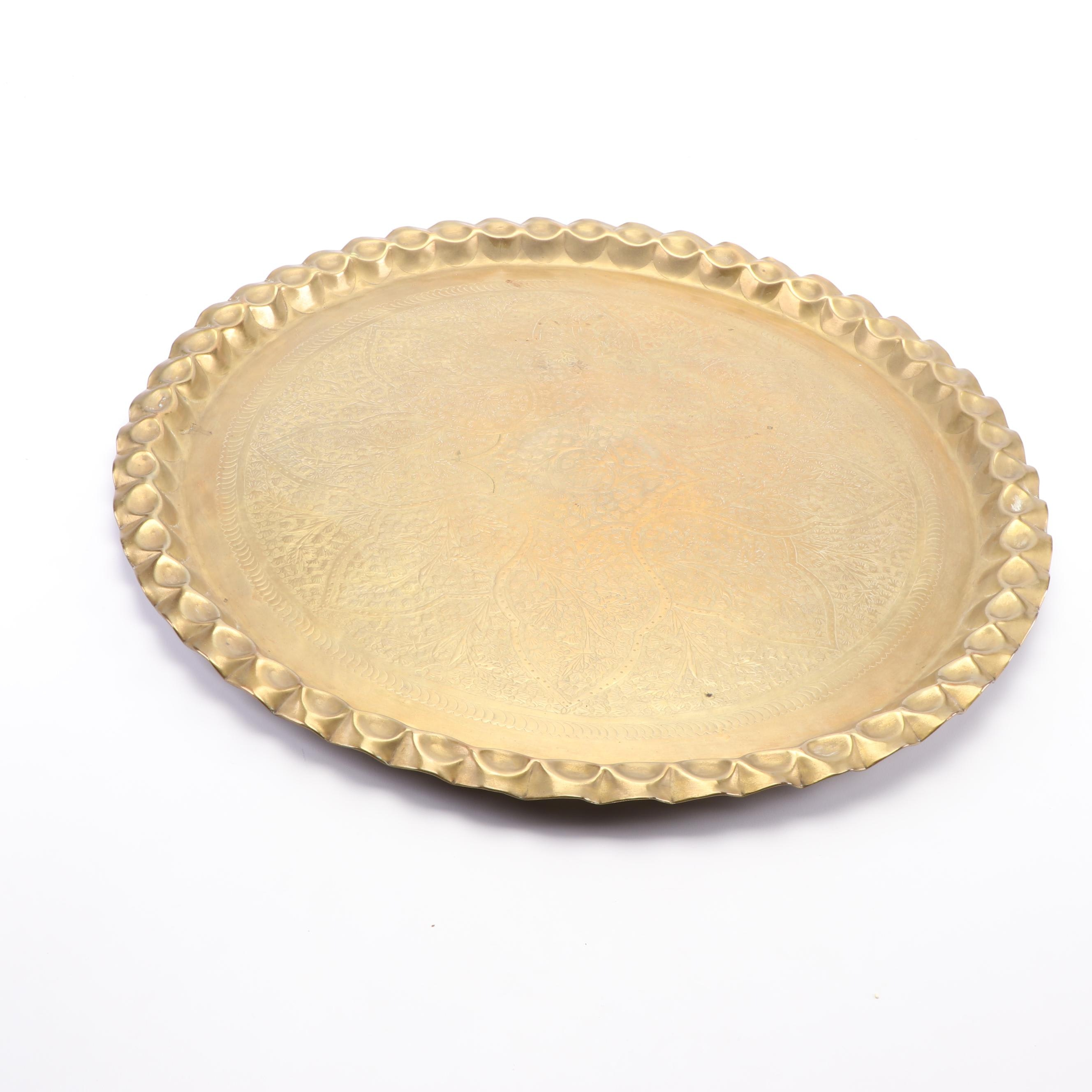 Brass Repoussé Turkish Style Tray