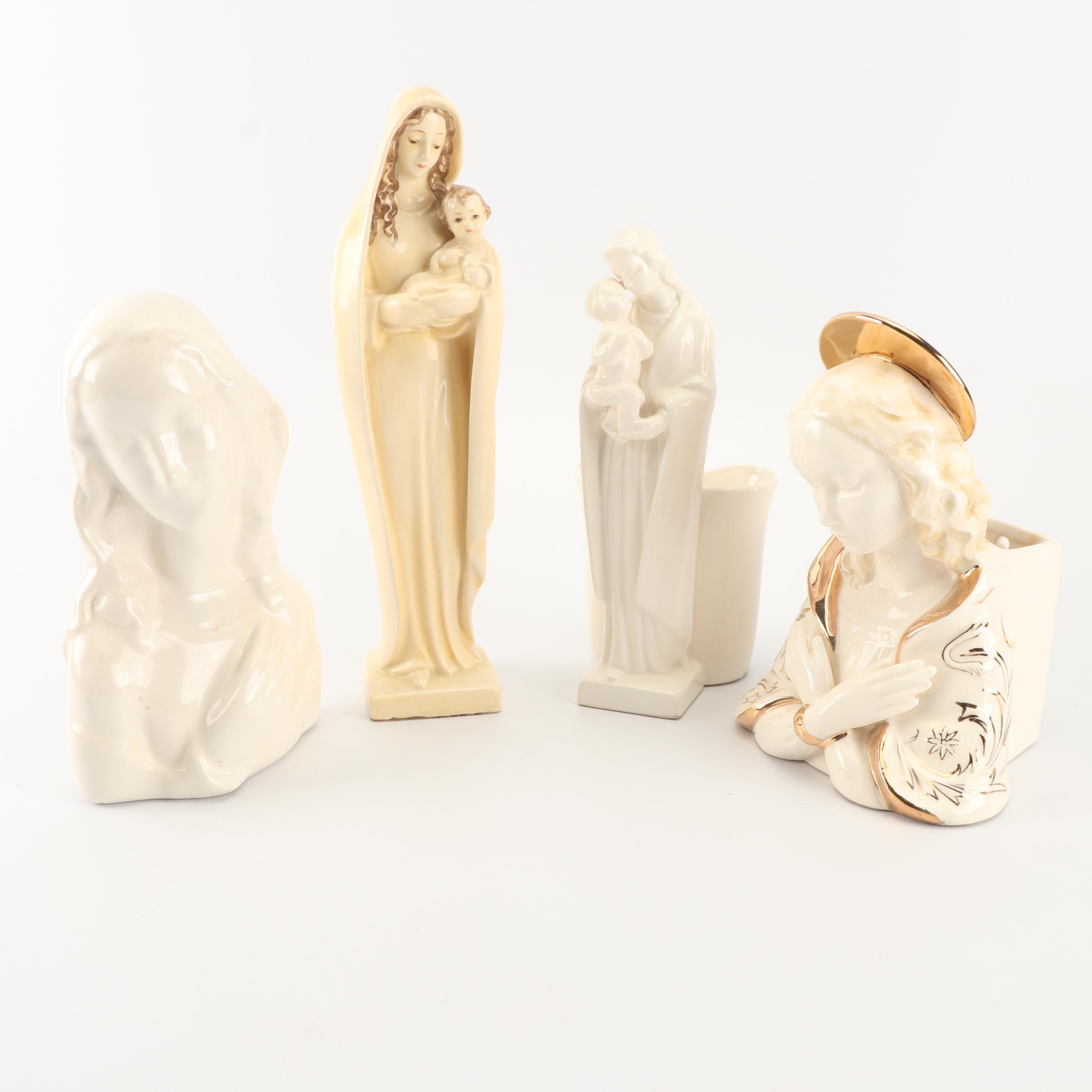 Vintage Porcelain Madonna Fugurines
