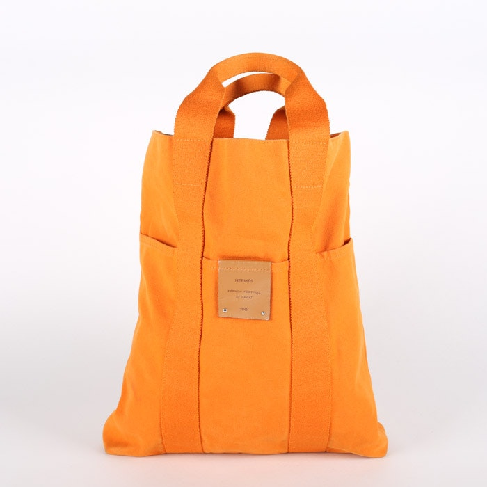 2001 Hermés of Paris French Festival of Hawaii Orange Canvas Tote