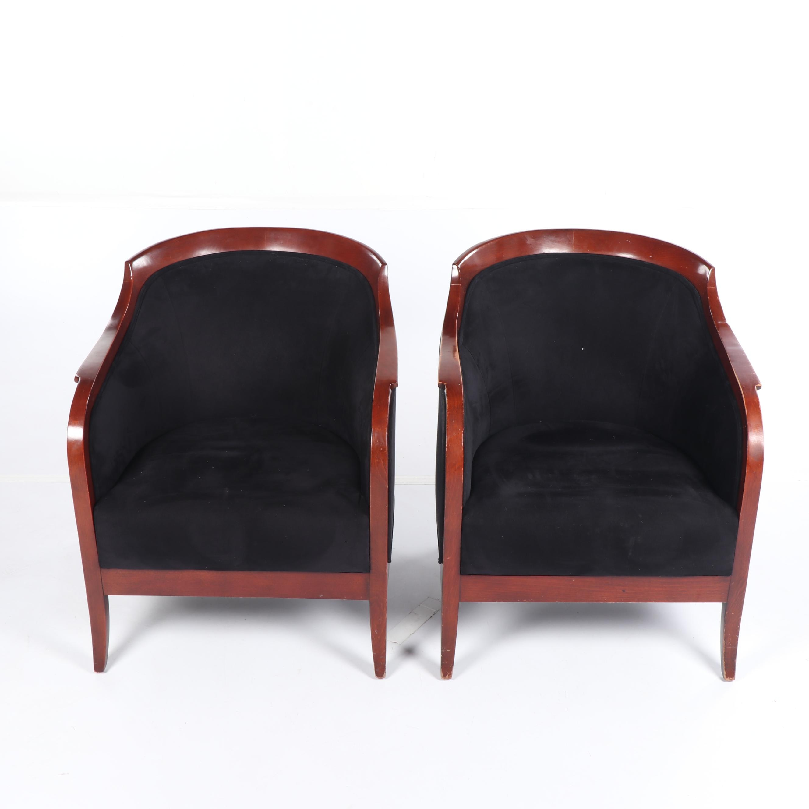 Biedermeier Style Upholstered Armchairs by Preview Furniture, Late 20th Century