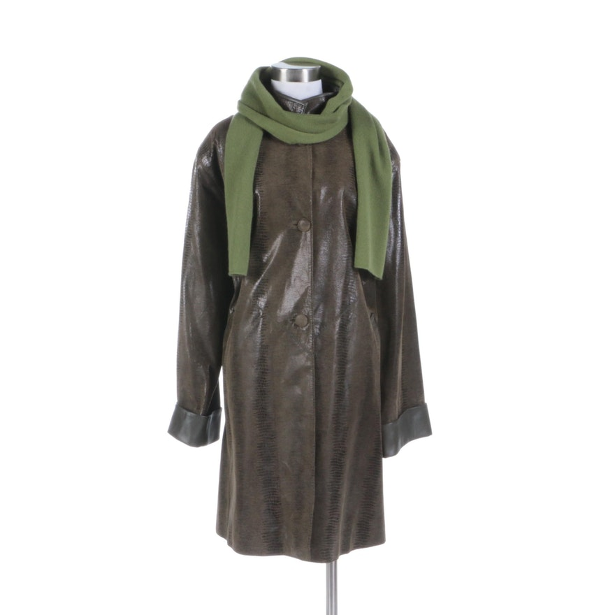 8b21b6a1da8d Frenkel's Argentinian Python Print Leather Coat and LaFayette 148 Cashmere  Scarf ...