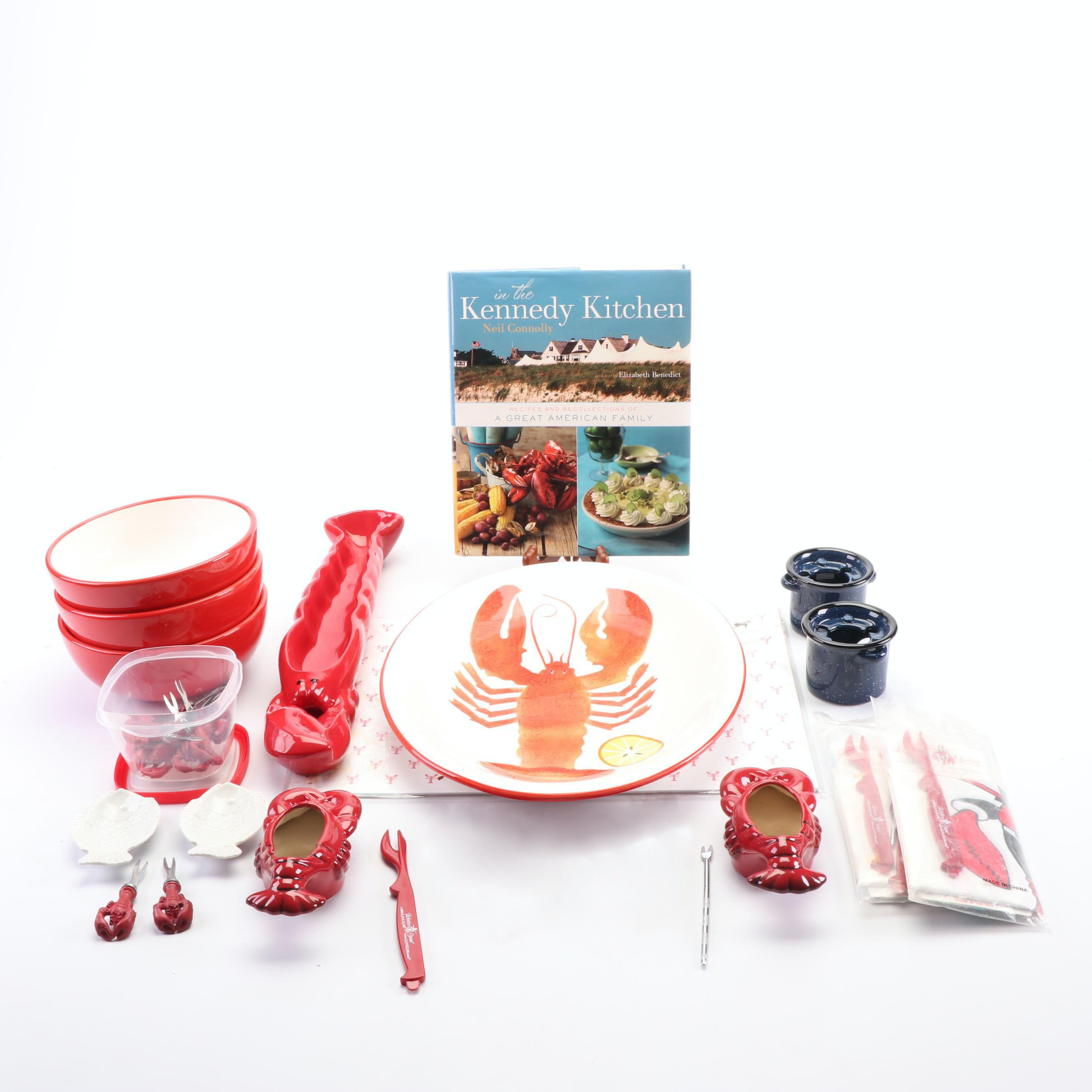 """Lobster Themed Dinnerware with """"Kennedy Kitchen"""" Book by Neil Connolly"""