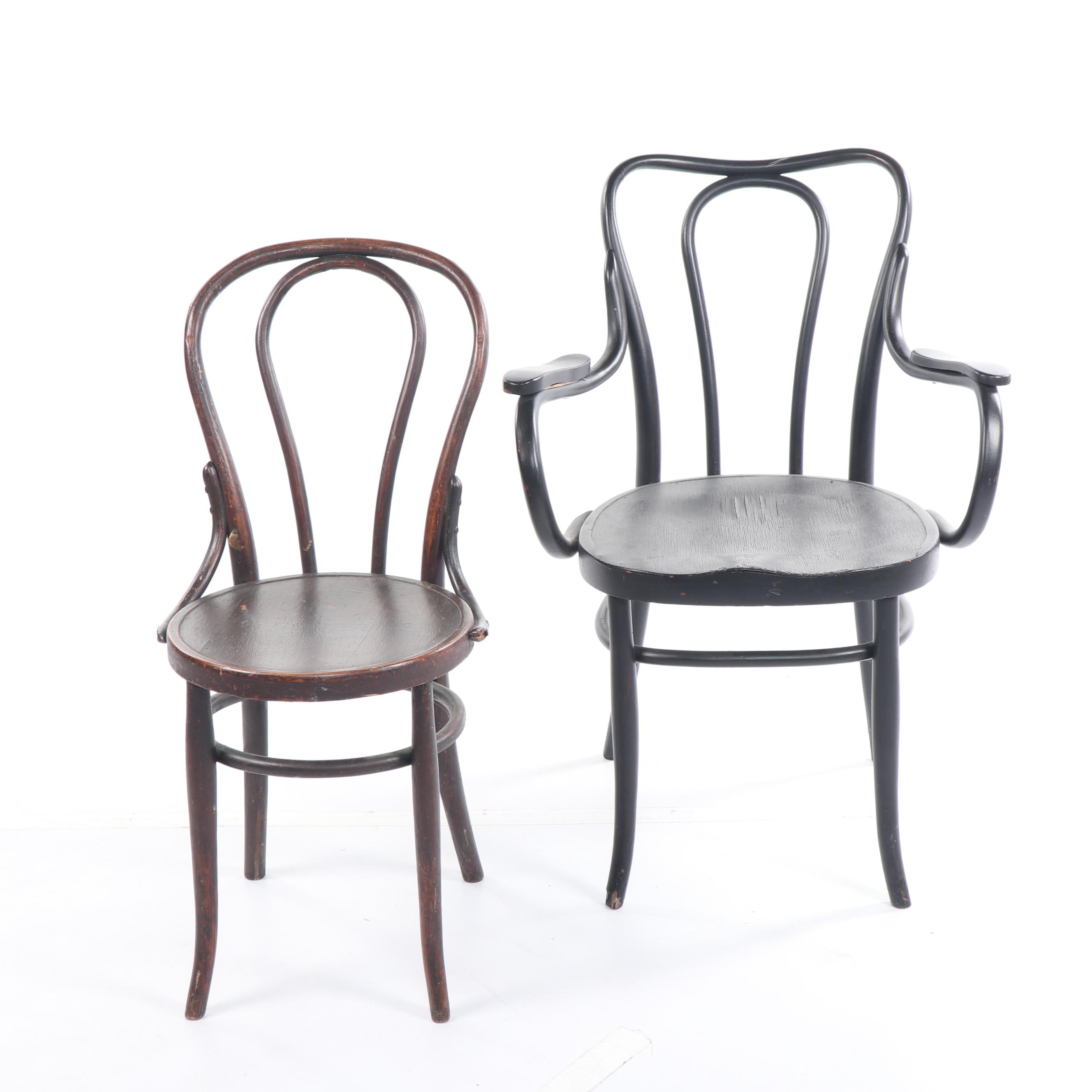 Bentwood Armchair and Side Chair, Early 20th Century