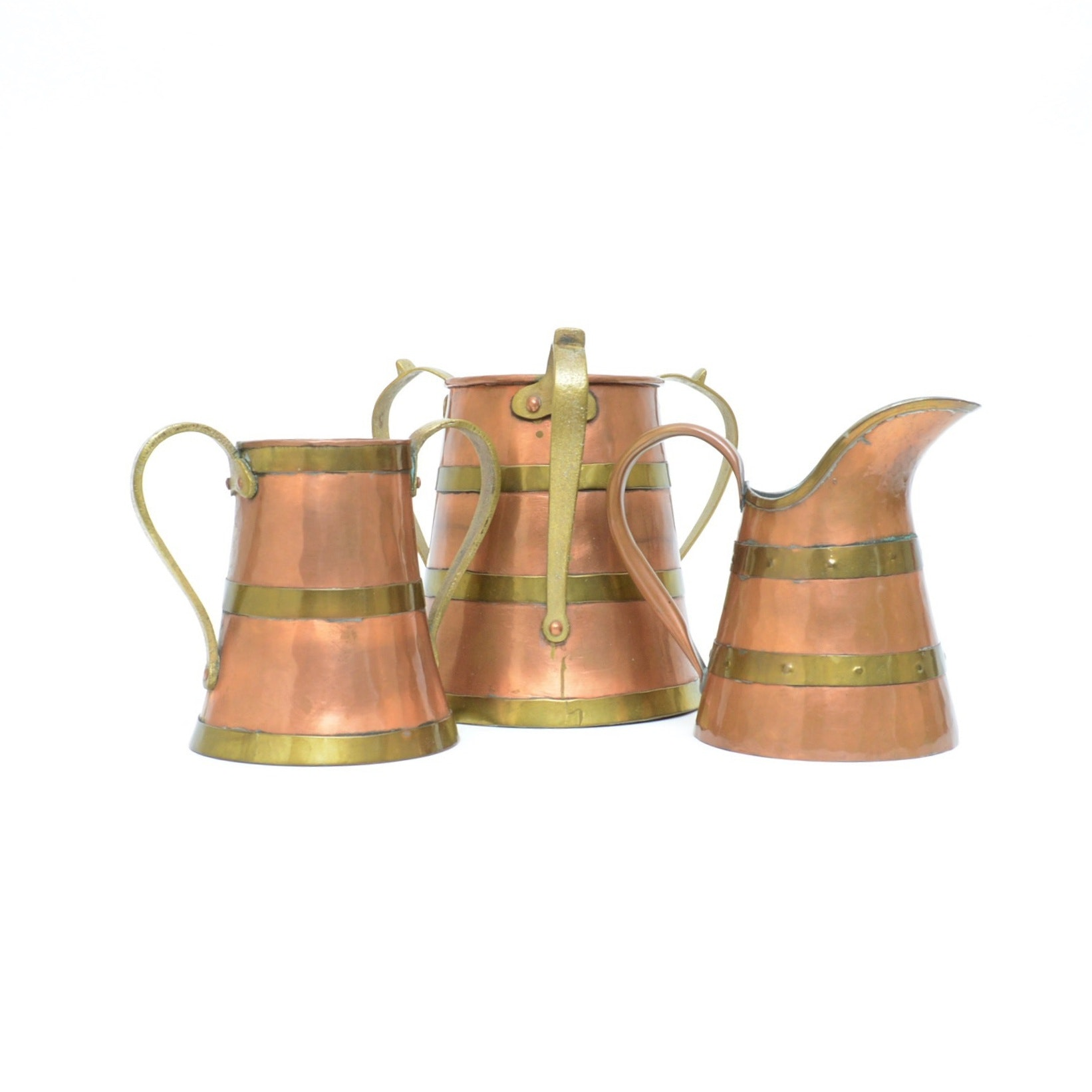 Arts and Crafts Copper and Brass Loving Cups and Ewer