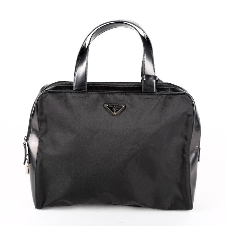 Vintage Prada Black Nylon And Patent Leather Handbag