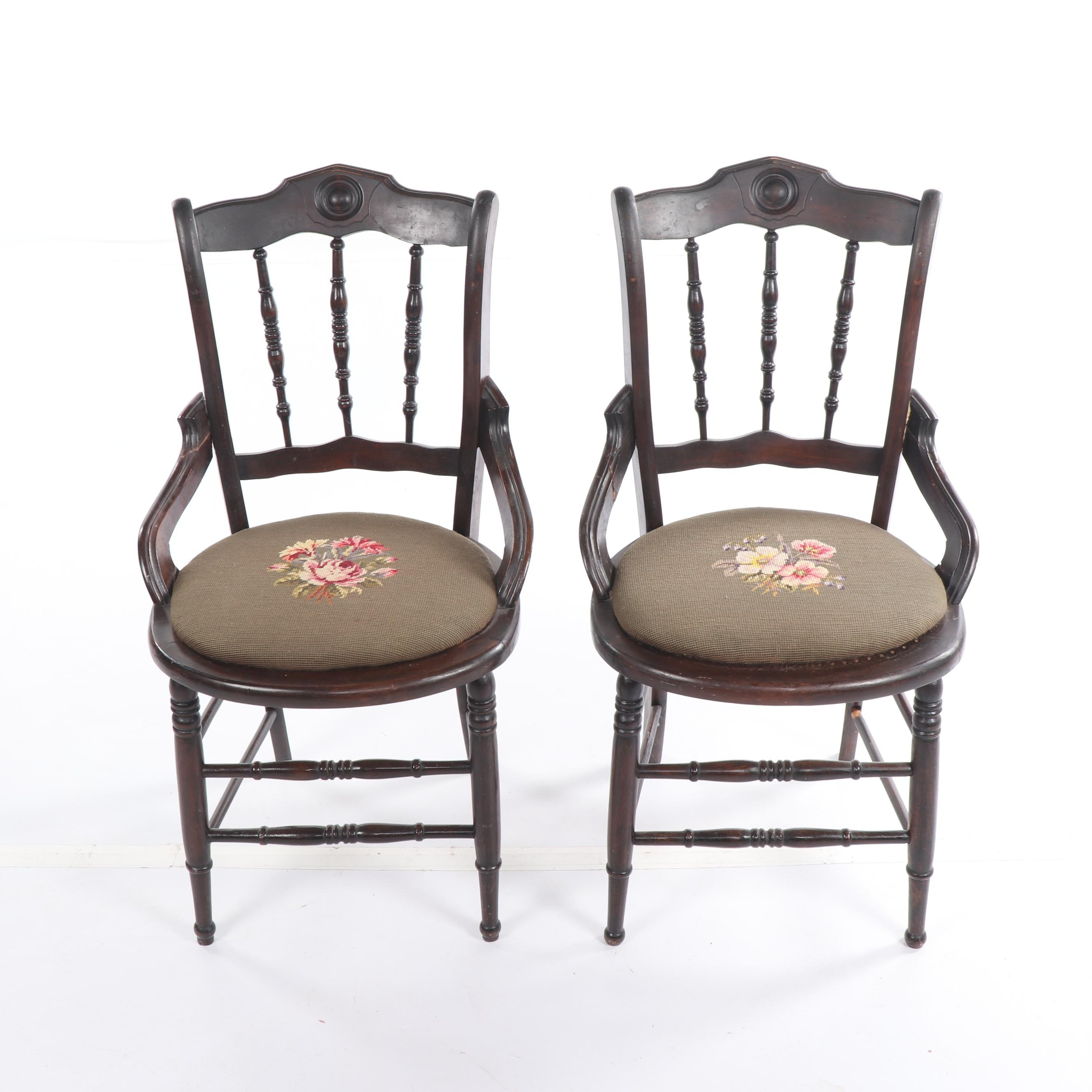 Late Victorian Style Walnut Spindle Back Side Chairs, Early/Mid-20th Century