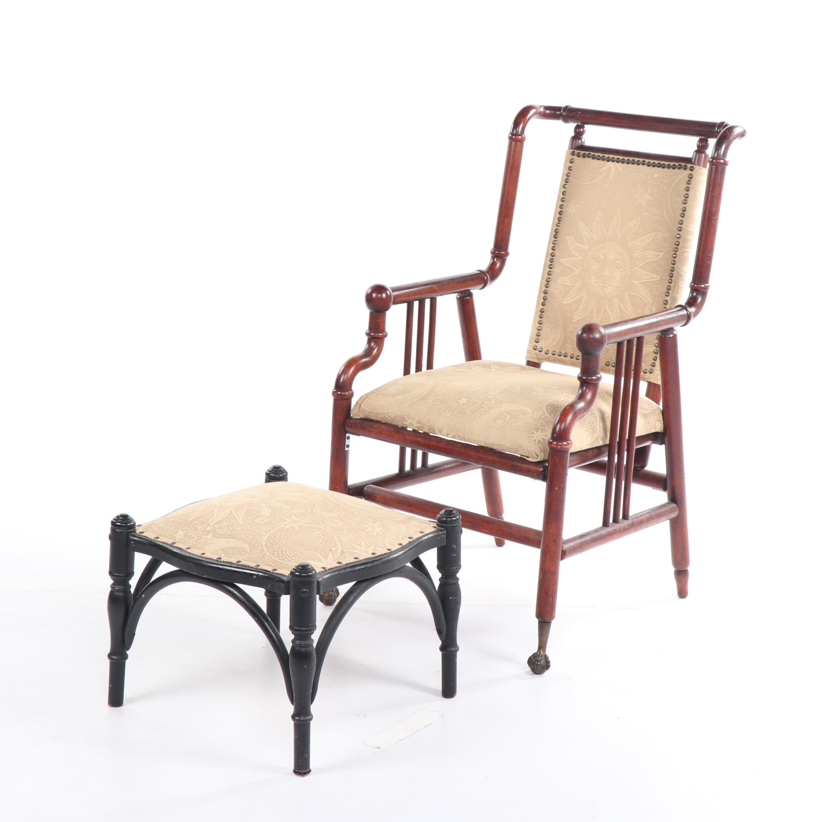 Campaign Style Wood Frame Upholstered Armchair and Ottoman, Early 20th Century