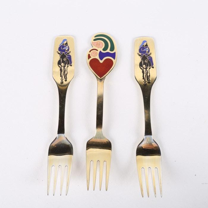 Anton Michelsen Danish Enameled Sterling Silver Christmas Forks, Late 1960s