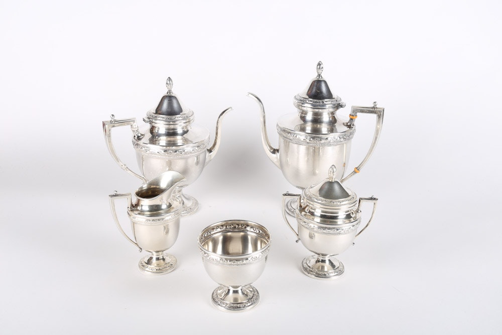 Frank M. Whiting Sterling Silver Tea and Coffee Service Set, Early 20th Century