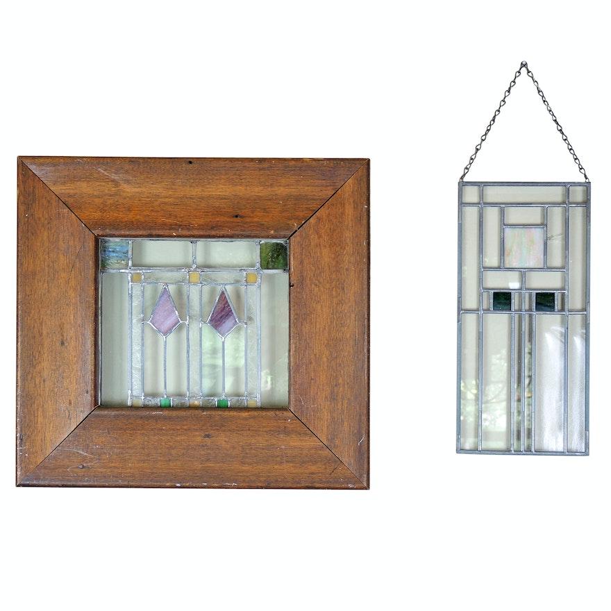 Slag Glass Window Panel and Sun Catcher