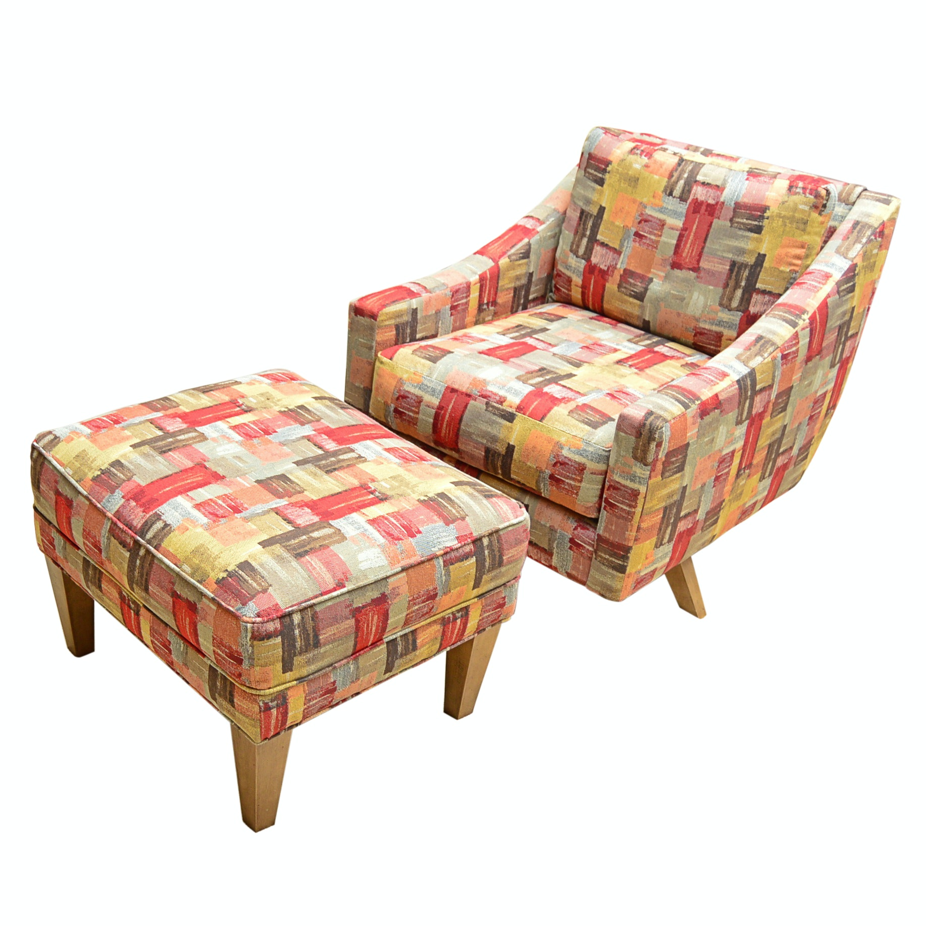 Mid Century Modern Style Chair and Ottoman