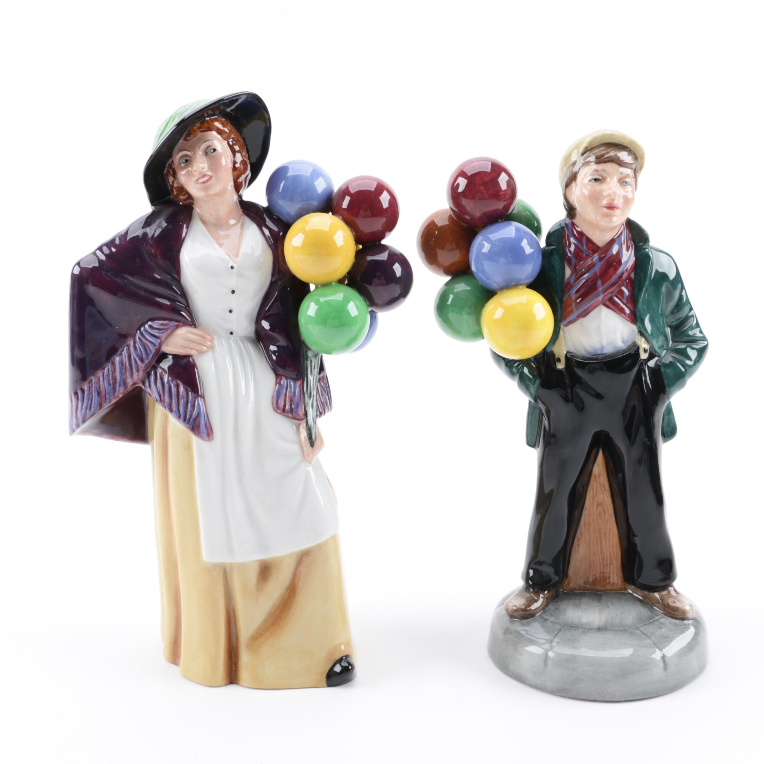"""Royal Doulton """"Balloon Lady"""" and Signed Peter A. Gee """"Balloon Boy"""" Figurines"""