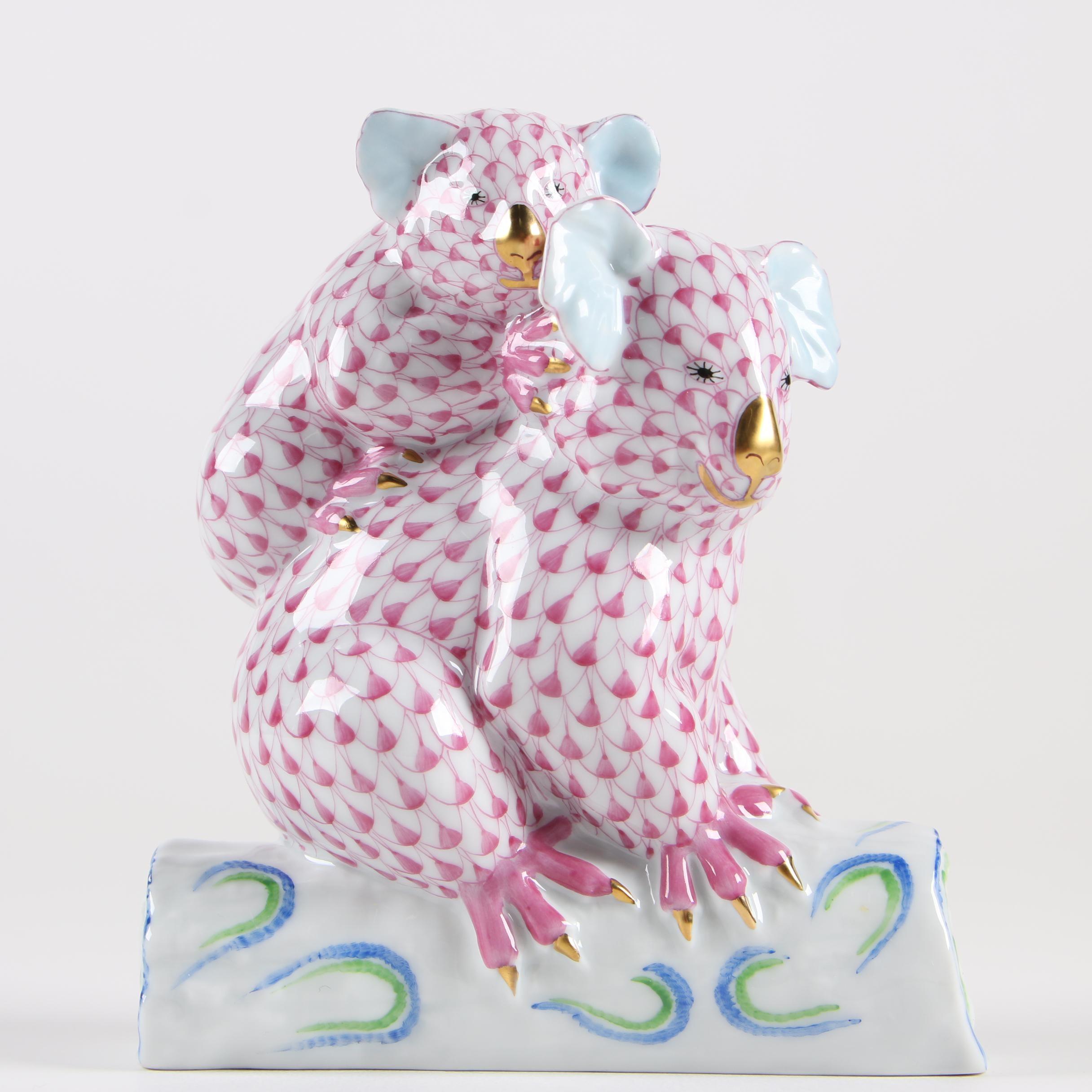 "Herend ""Pair of Koalas"" Porcelain Figurine, 1995"