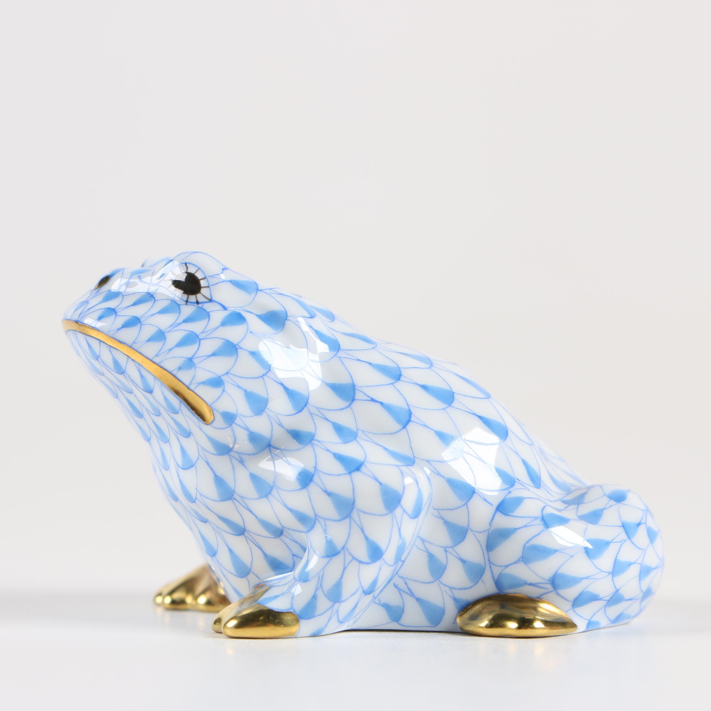 "Herend ""Frog Blue"" Hand-Painted Porcelain Figurine"