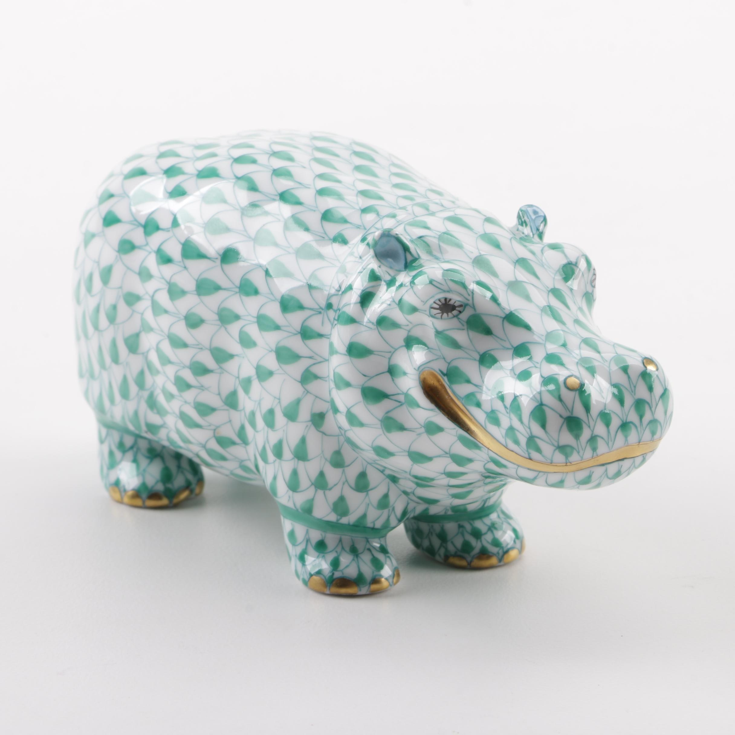 "Herend ""Hippo Green"" Hand-Painted Porcelain Figurine"