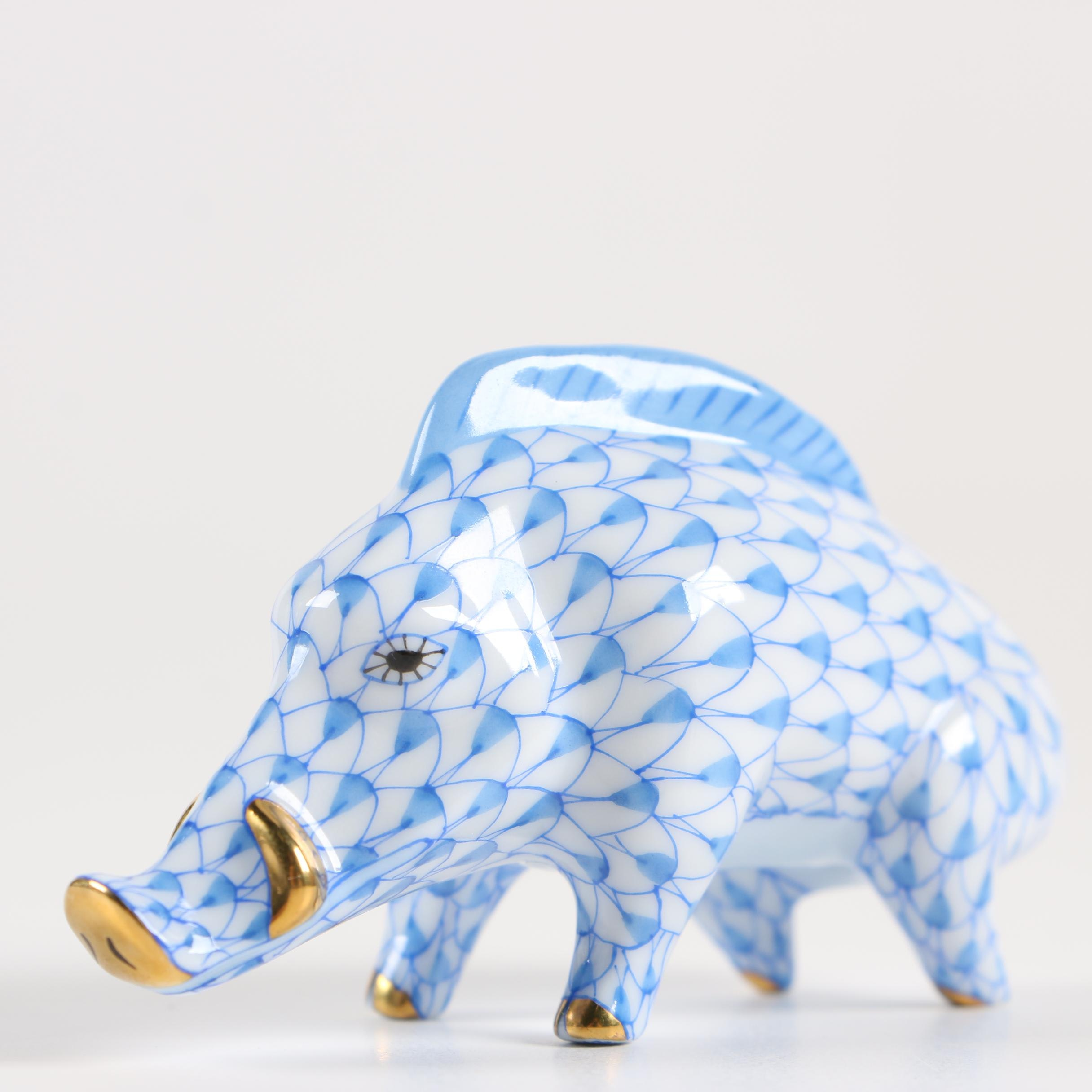 """Herend """"Year of the Wild Boar"""" Porcelain Figurine, 2007"""