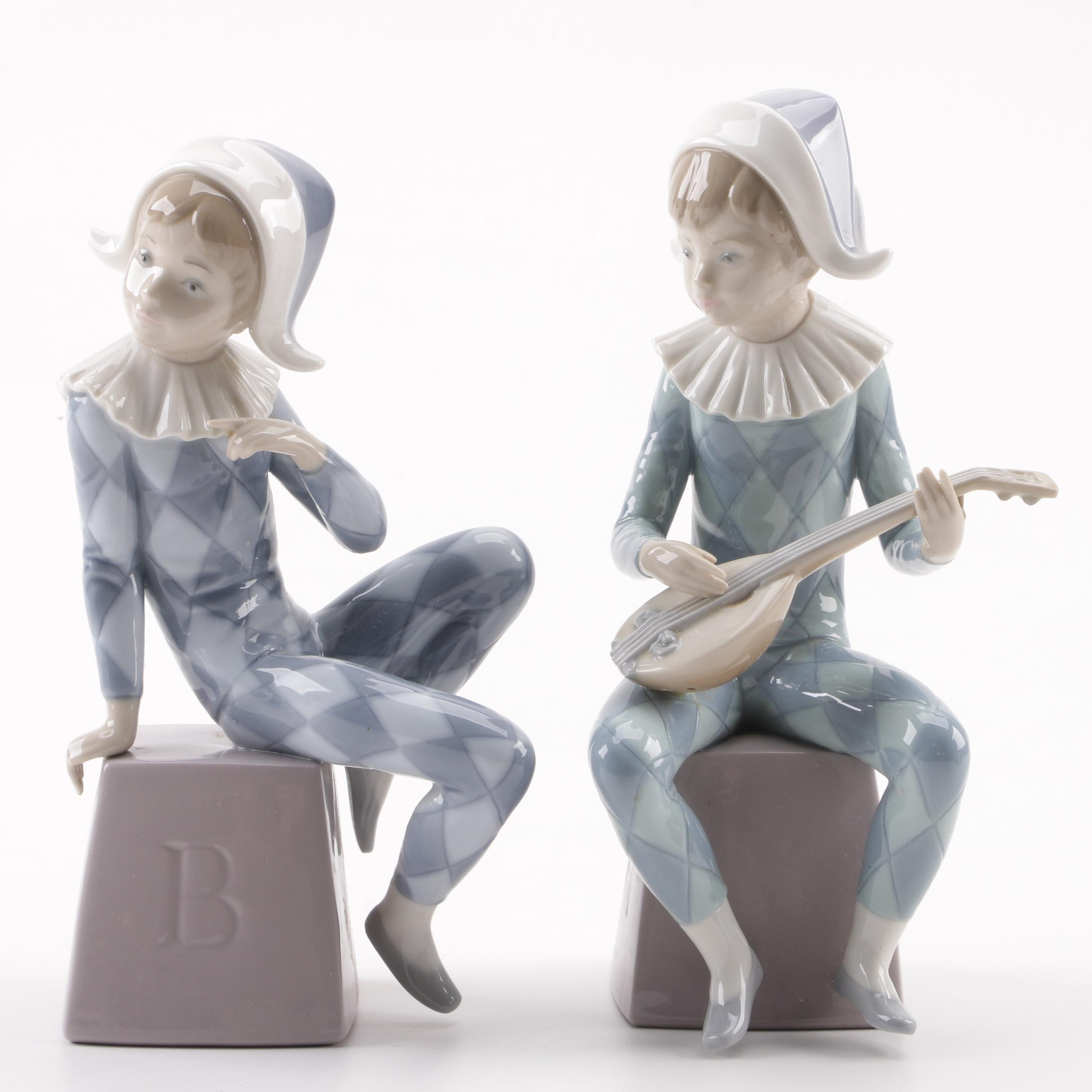 "Lladró ""Harlequin A"" and ""Harlequin B"" Porcelain Figurines, 1980s"