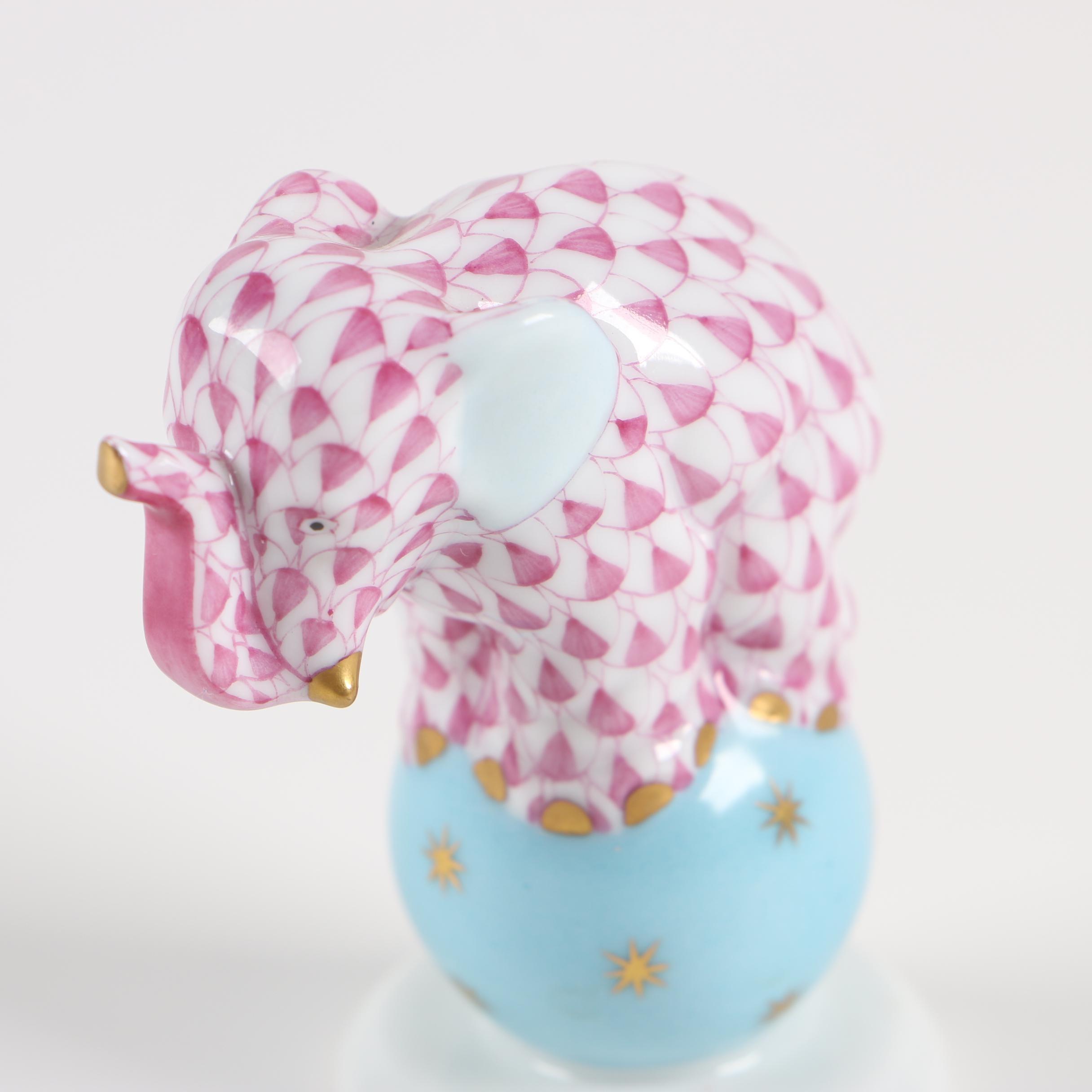 "Herend ""Elephant on Ball Purple"" Hand-Painted Porcelain Figurine"