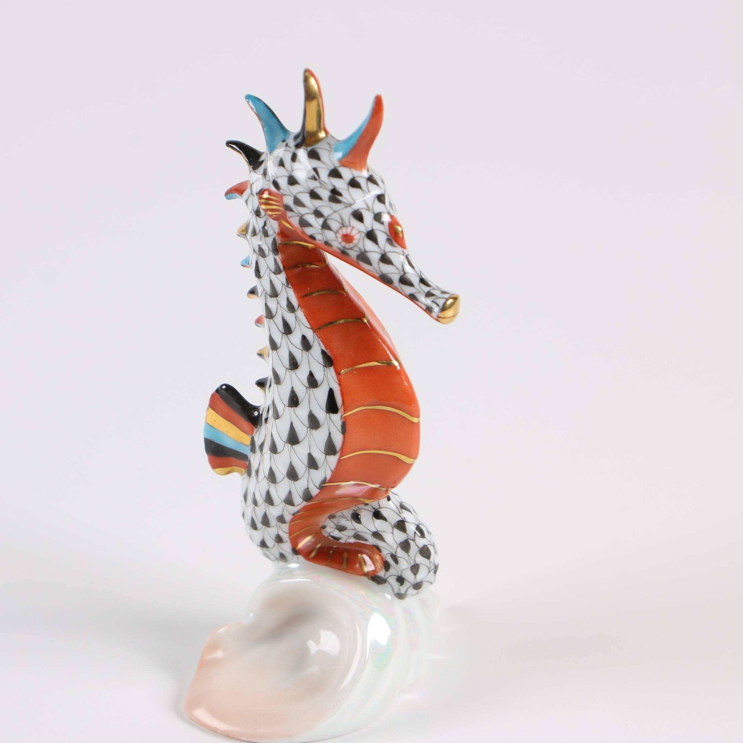 "Herend ""Seahorse Black"" Hand-Painted Porcelain Figurine"