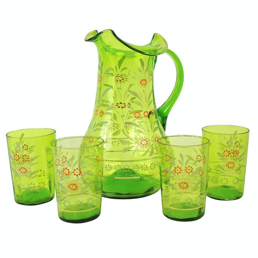Antique Victorian Blown Glass and Hand-Enameled Lemonade Set