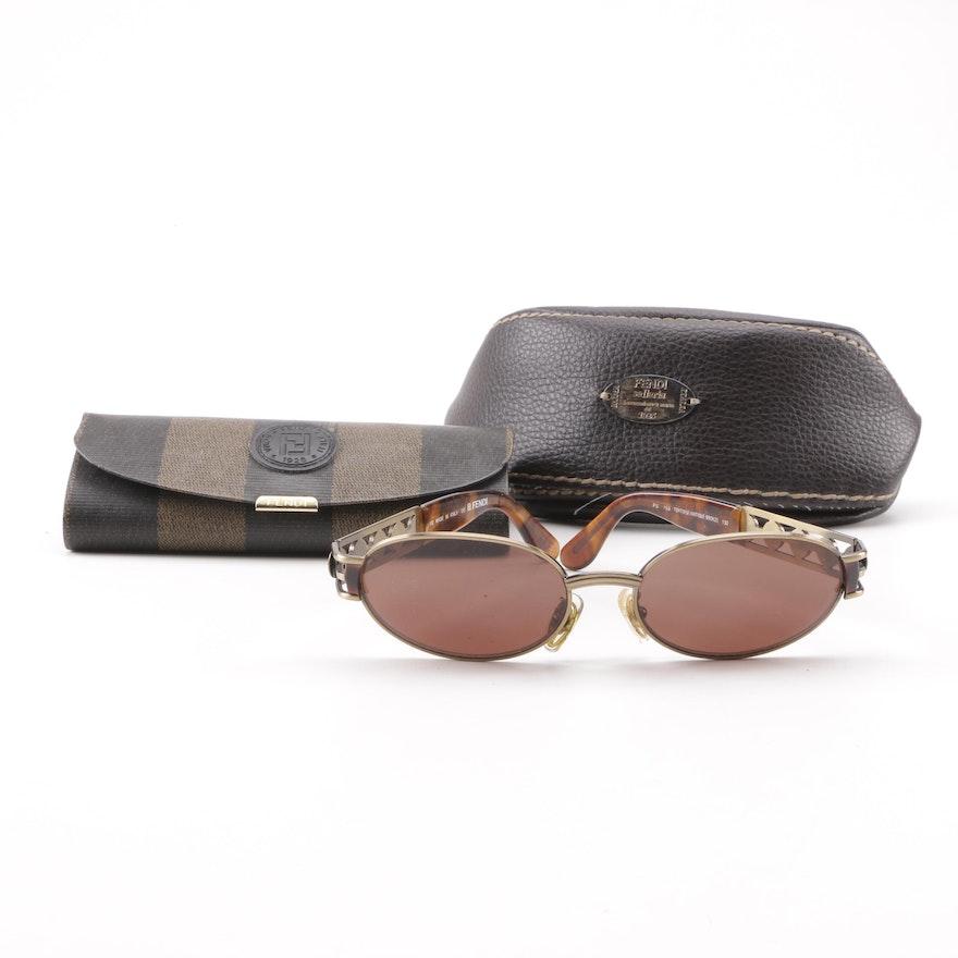 1649e7c252 Circa 1980s Vintage Fendi FS 153 Tortoise Antique Bronze Sunglasses with  Cases ...