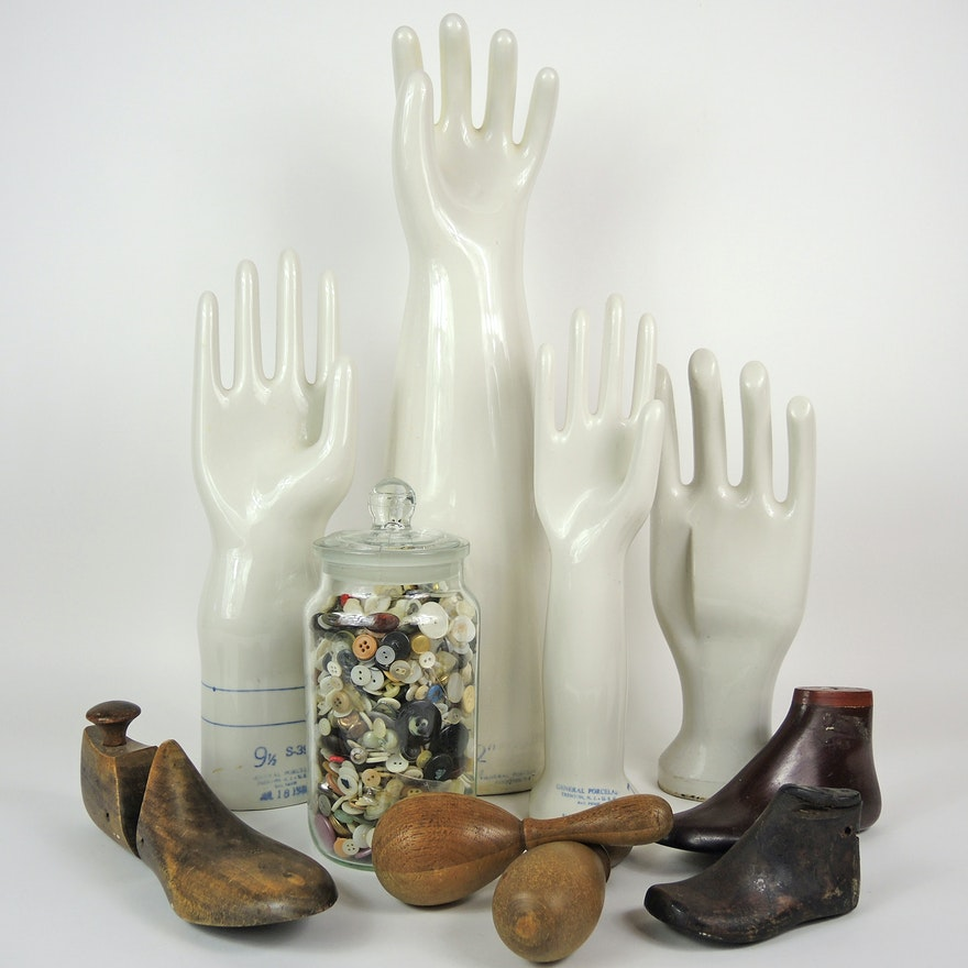 Porcelain Glove Molds, Foot Forms, and Darning Eggs