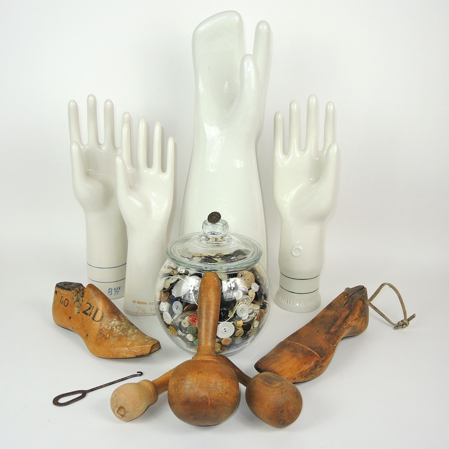 Porcelain Glove Molds, Foot Forms, Darning Eggs and Lace Hook