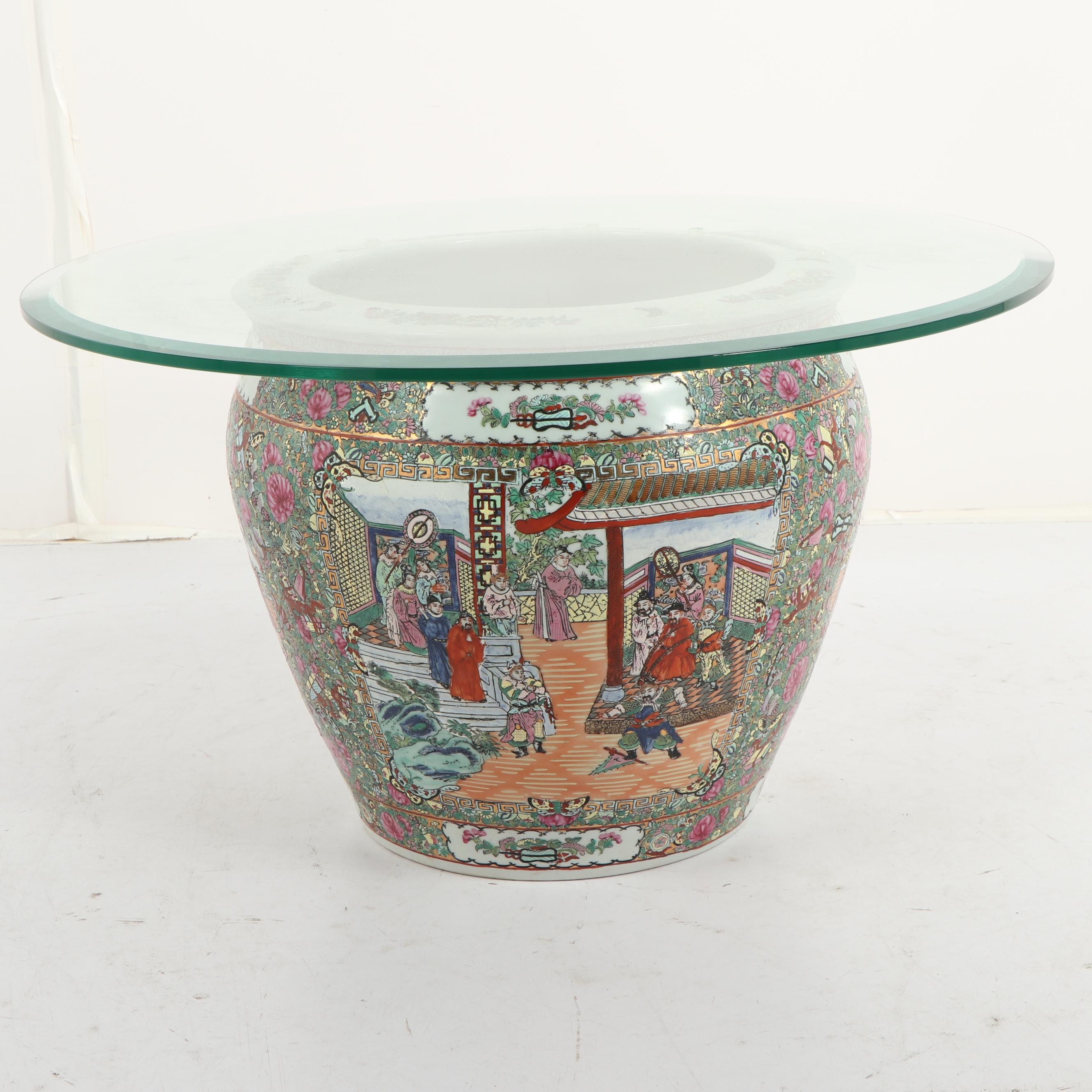 Chinese Glass Top Occasional Table with Ceramic Base, Mid 20th Century