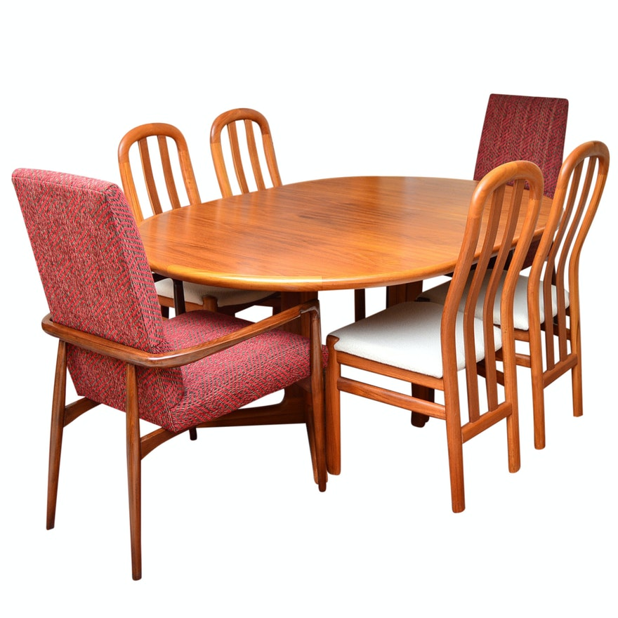 Skovby Danish Teak Dining Table And Chairs Plus Pair Of Lexington Armchairs