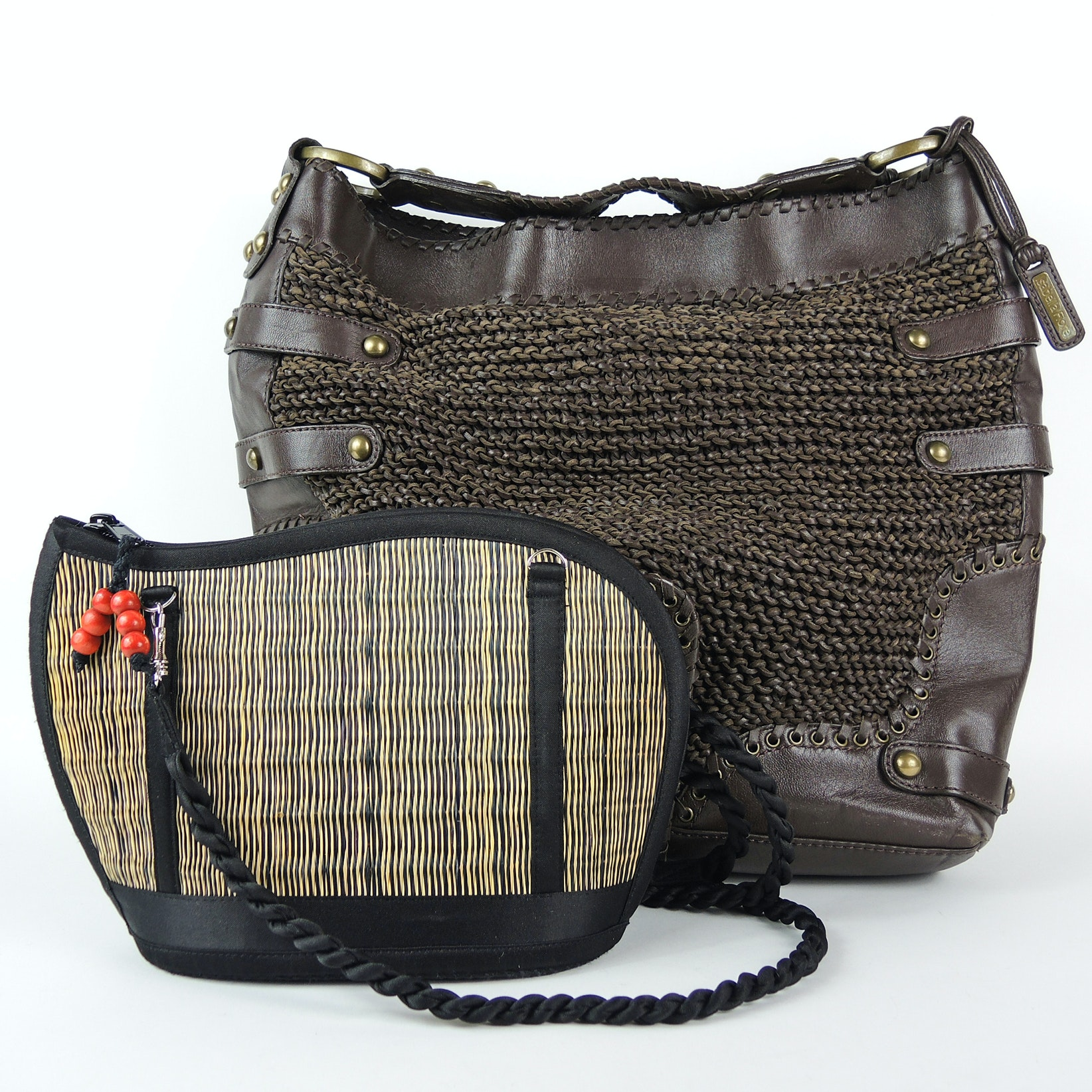 Isabella Fiore Woven Brown Leather Handbag and Baskets of Cambodia Handbag