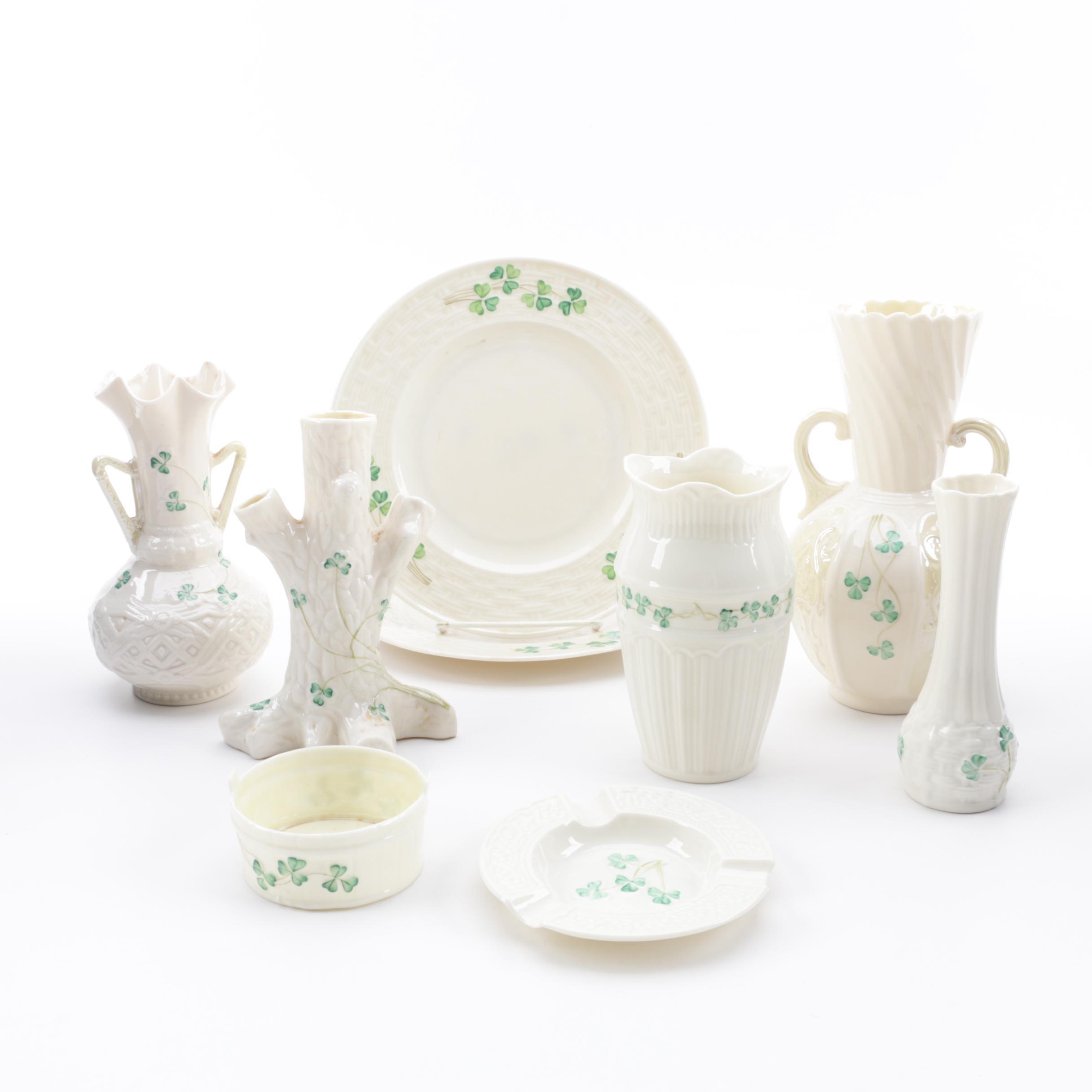 """Belleek """"Shamrock"""" Vases, Plates, and Tableware"""