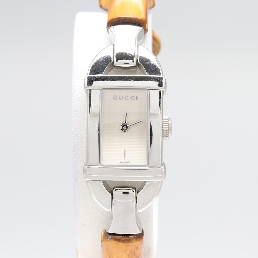 69d405feae0 Gucci 6800L Bamboo and Stainless Steel Wristwatch   EBTH