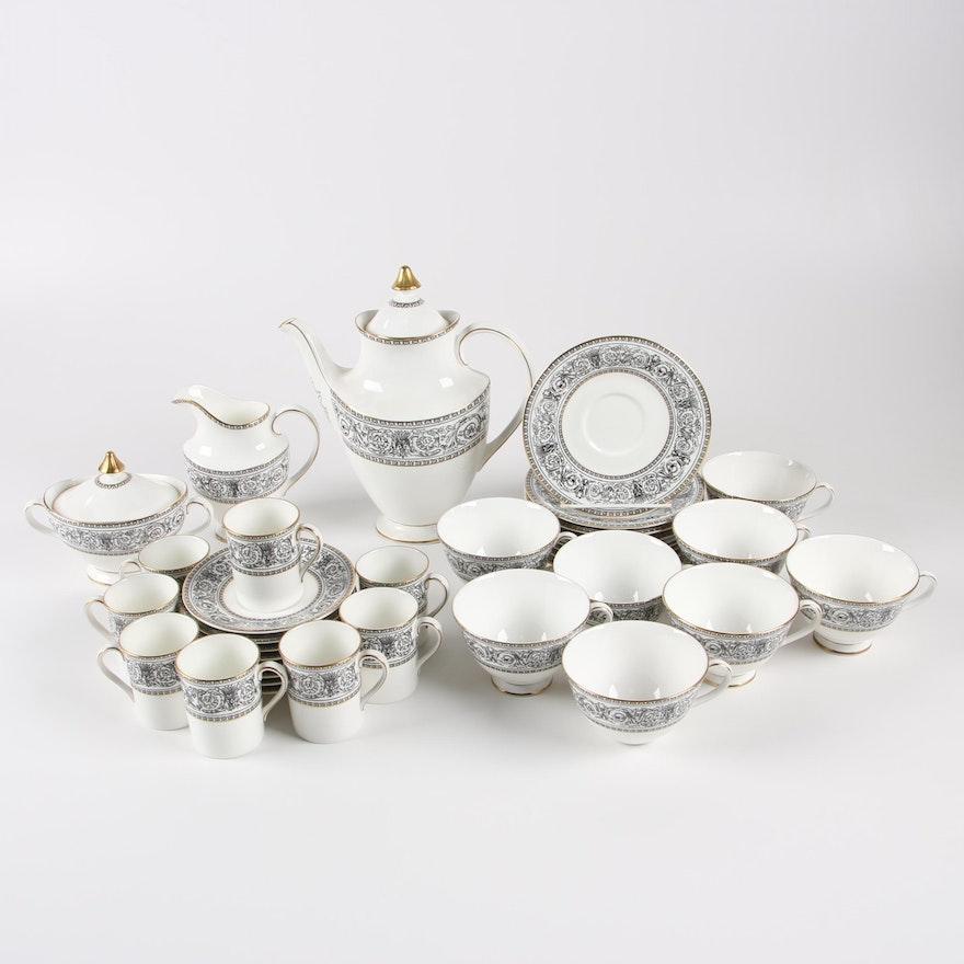 "Royal Doulton ""Baronet"" Bone China Tea and Demitasse Set"