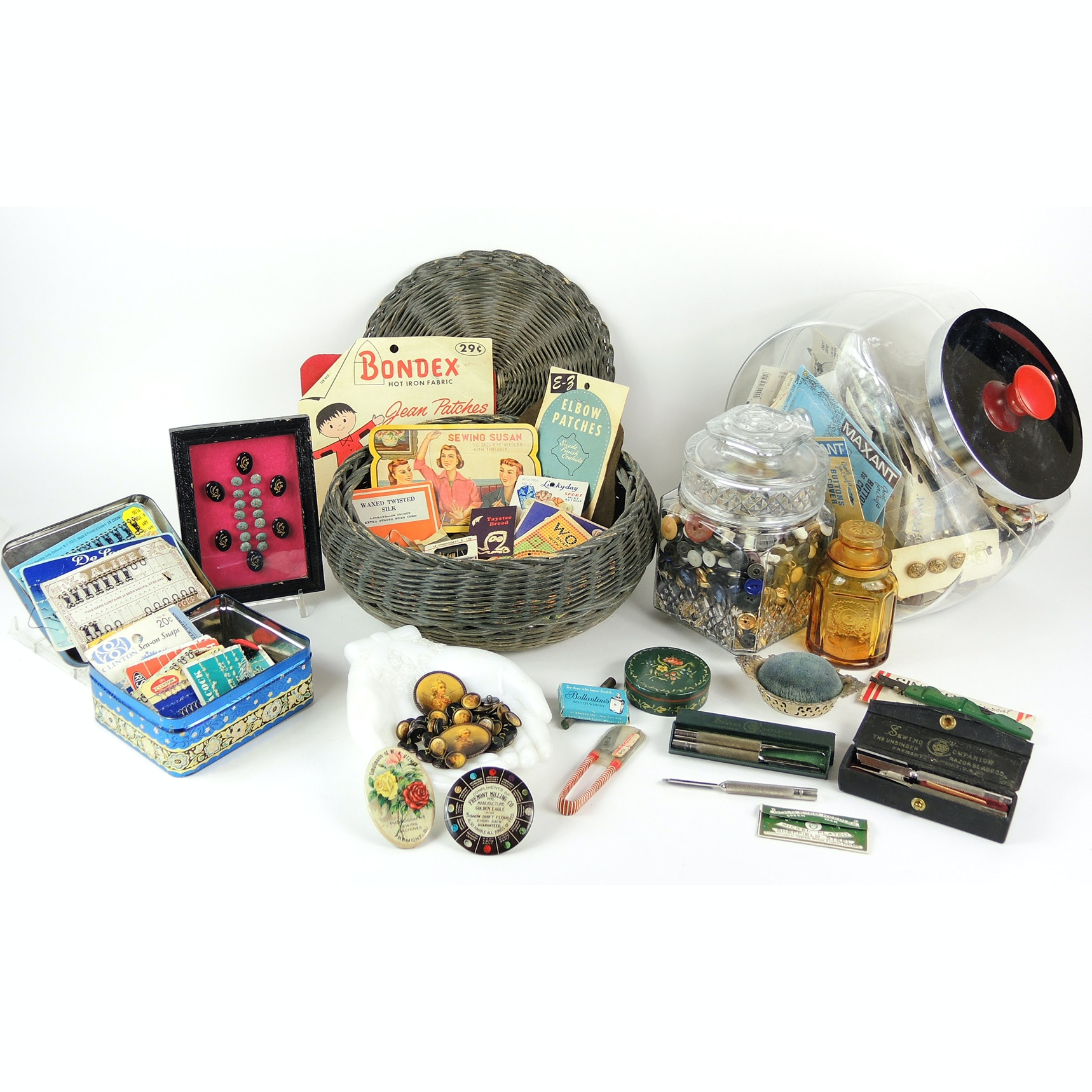 Vintage Sewing Notions and Sewing Basket