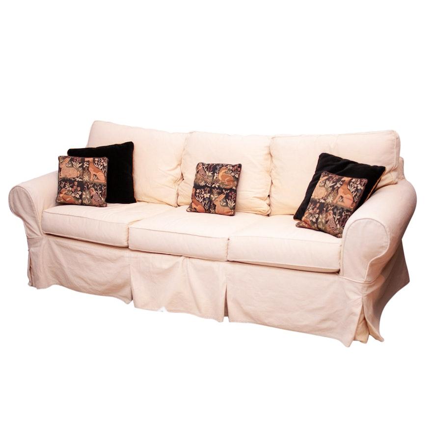 Contemporary Pottery Barn Sofa With Decorative Pillows Ebth
