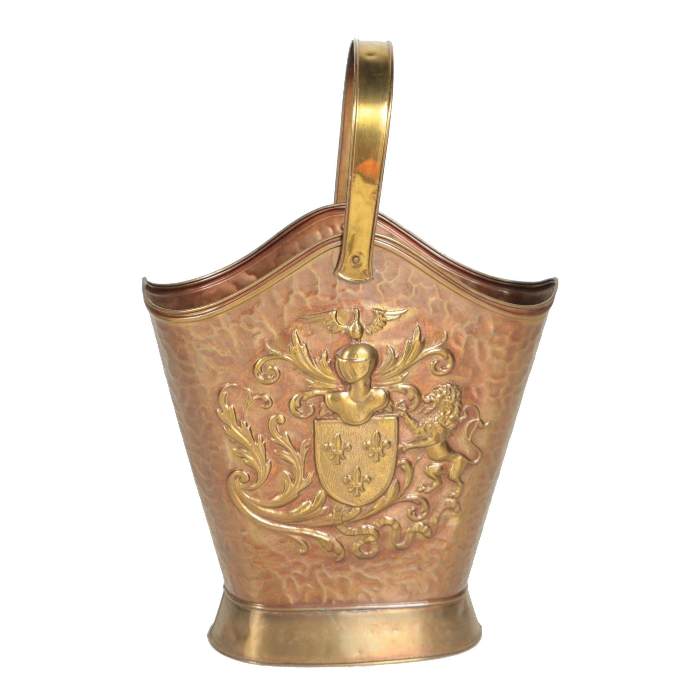 Vintage Brass Hearth Firewood Basket