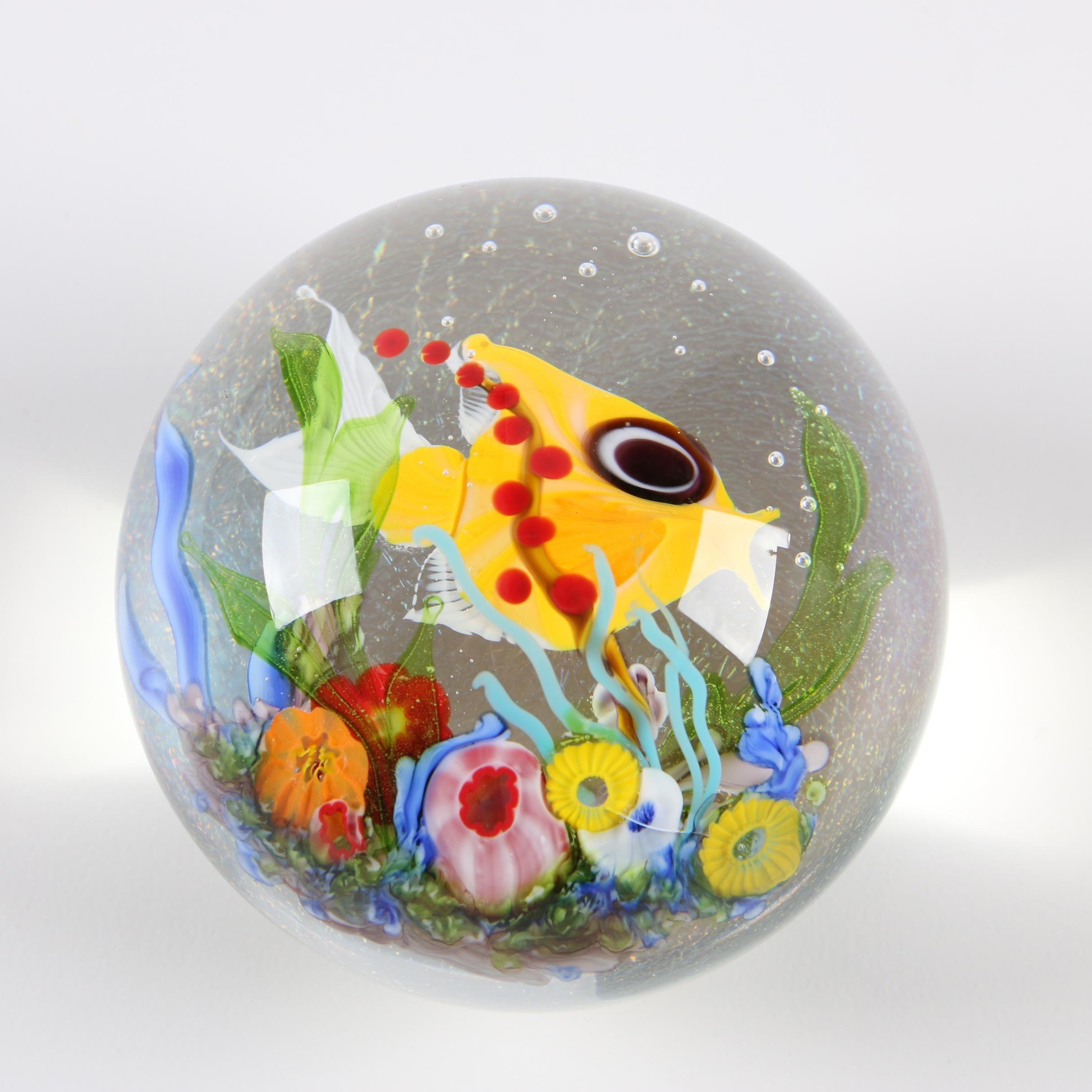 Mayauel Ward Hand Blown Art Glass Paperweight, 2008
