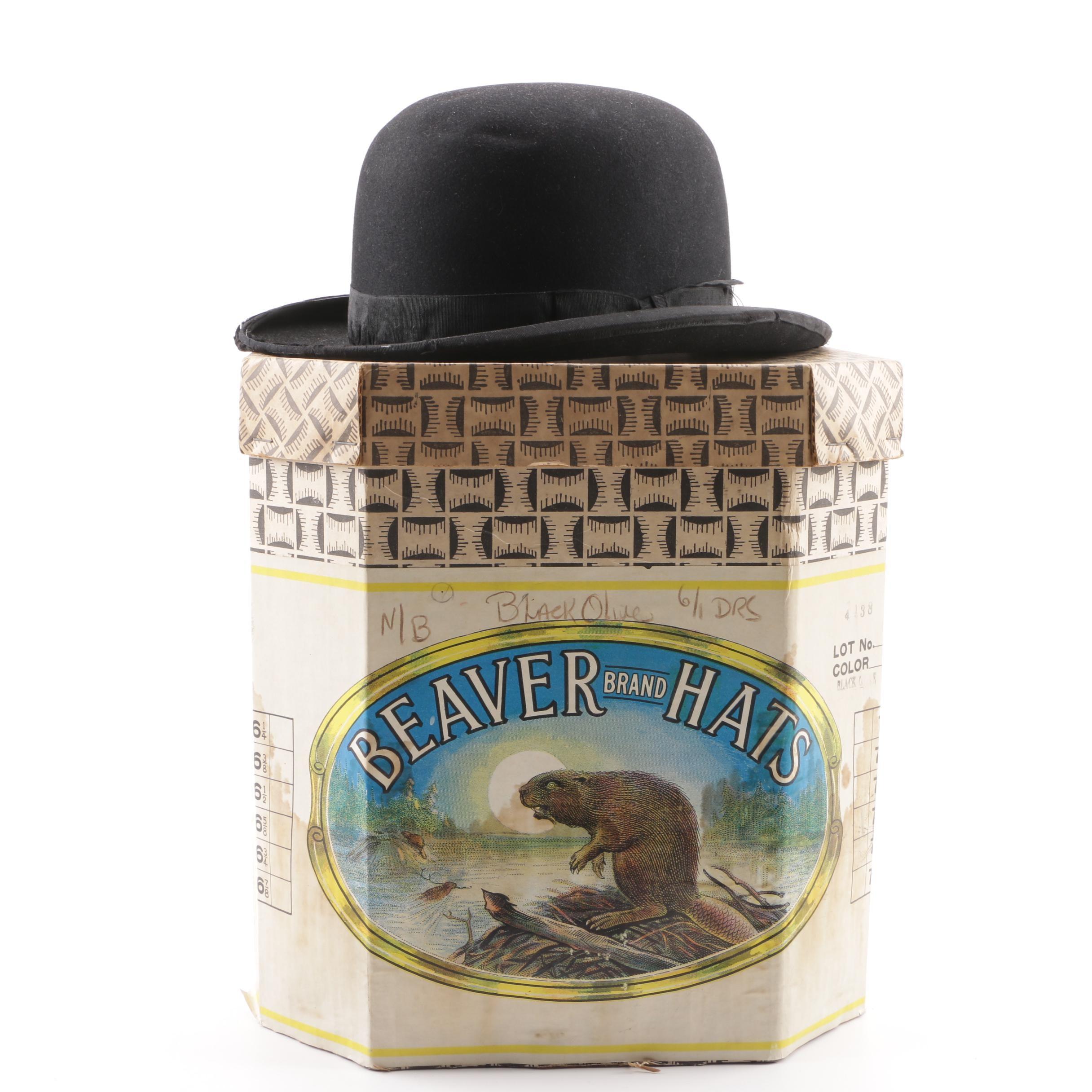 "Adam Hats ""The Dewey"" Black Fur Felt Hat with Beaver Brand Hats Box"