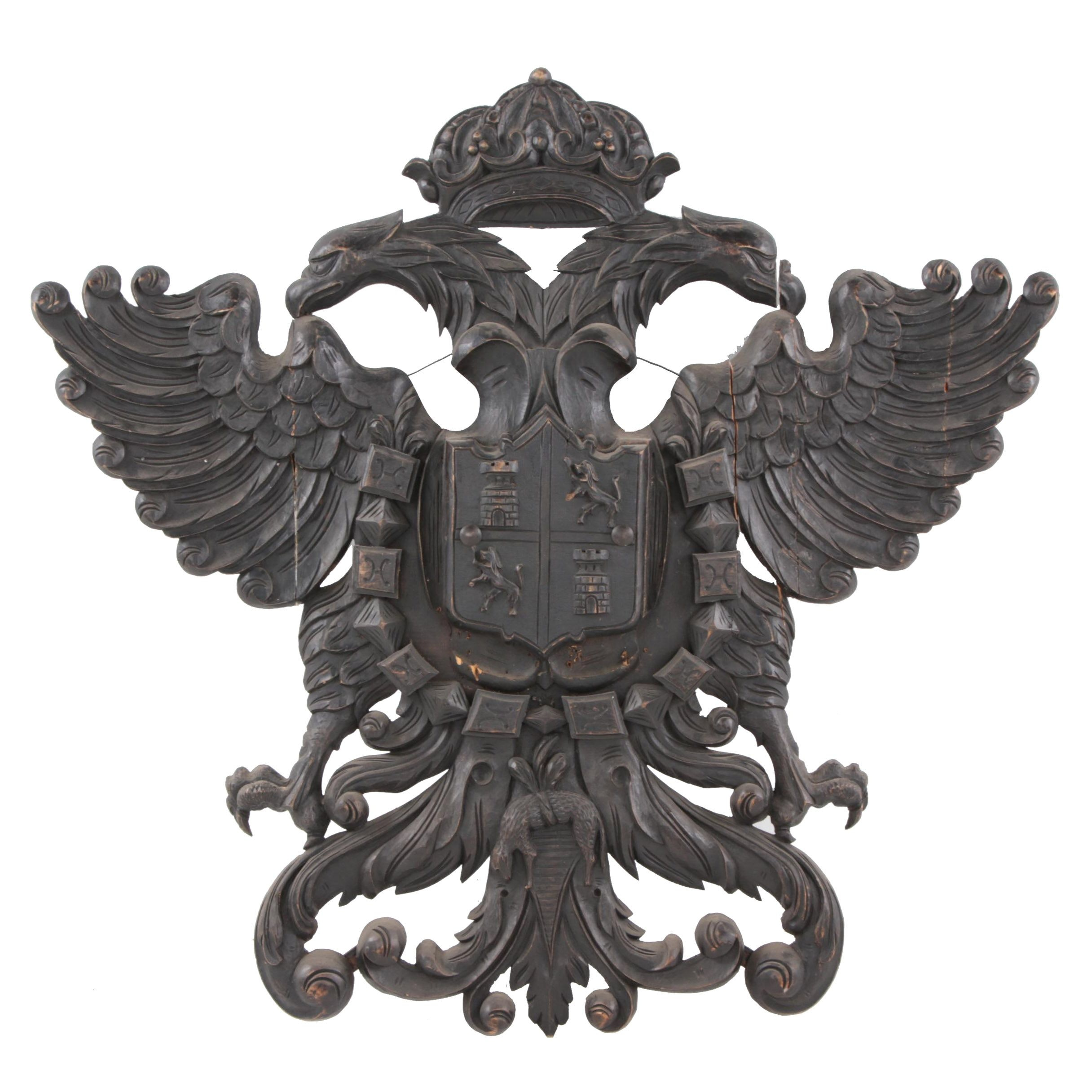 Hand-Carved Coat of Arms, Possibly German or Austrian, Early 20th Century