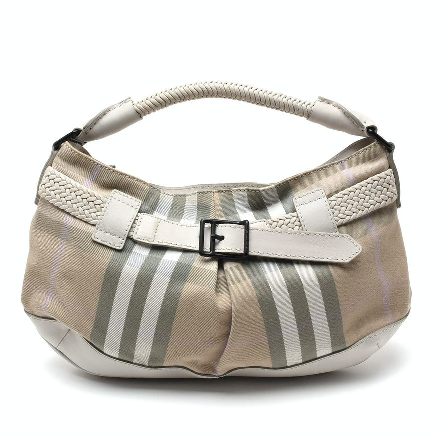 33c963bc738a Burberry Check and Leather Shoulder Bag   EBTH