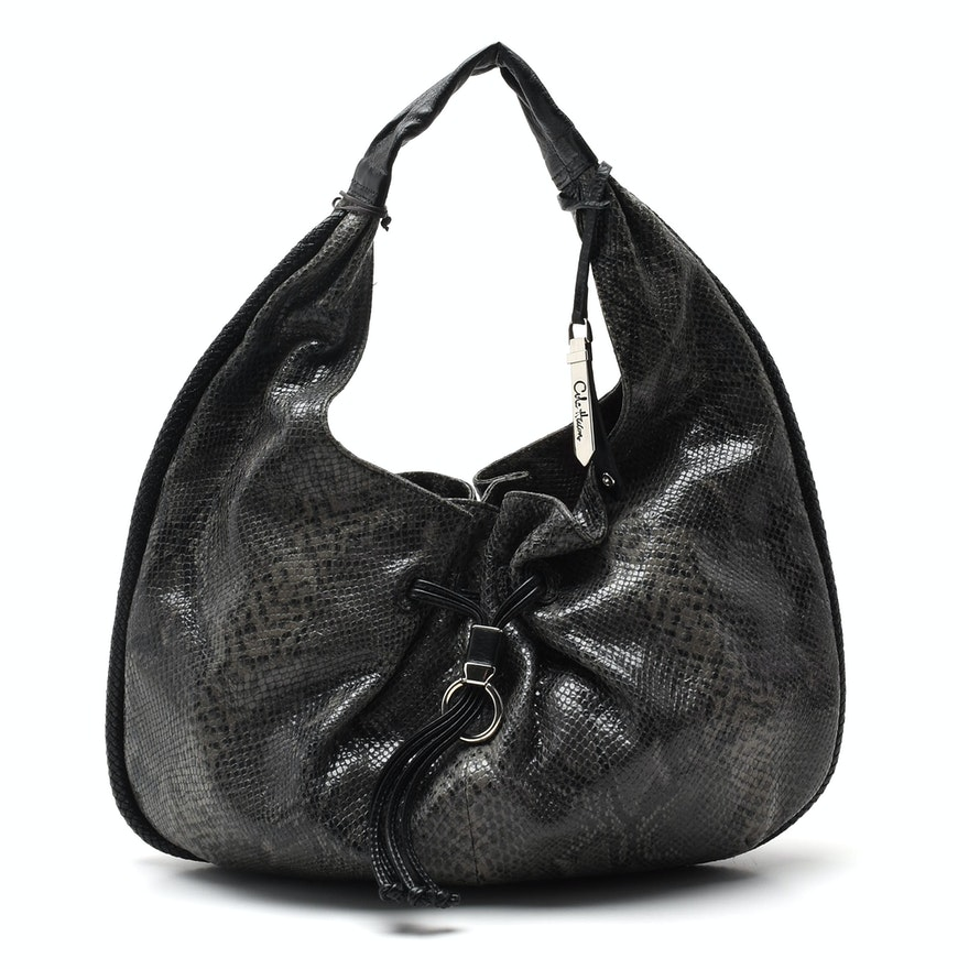 a7abe3a8cc46 Cole Haan Python Embossed Leather Hobo Bag : EBTH