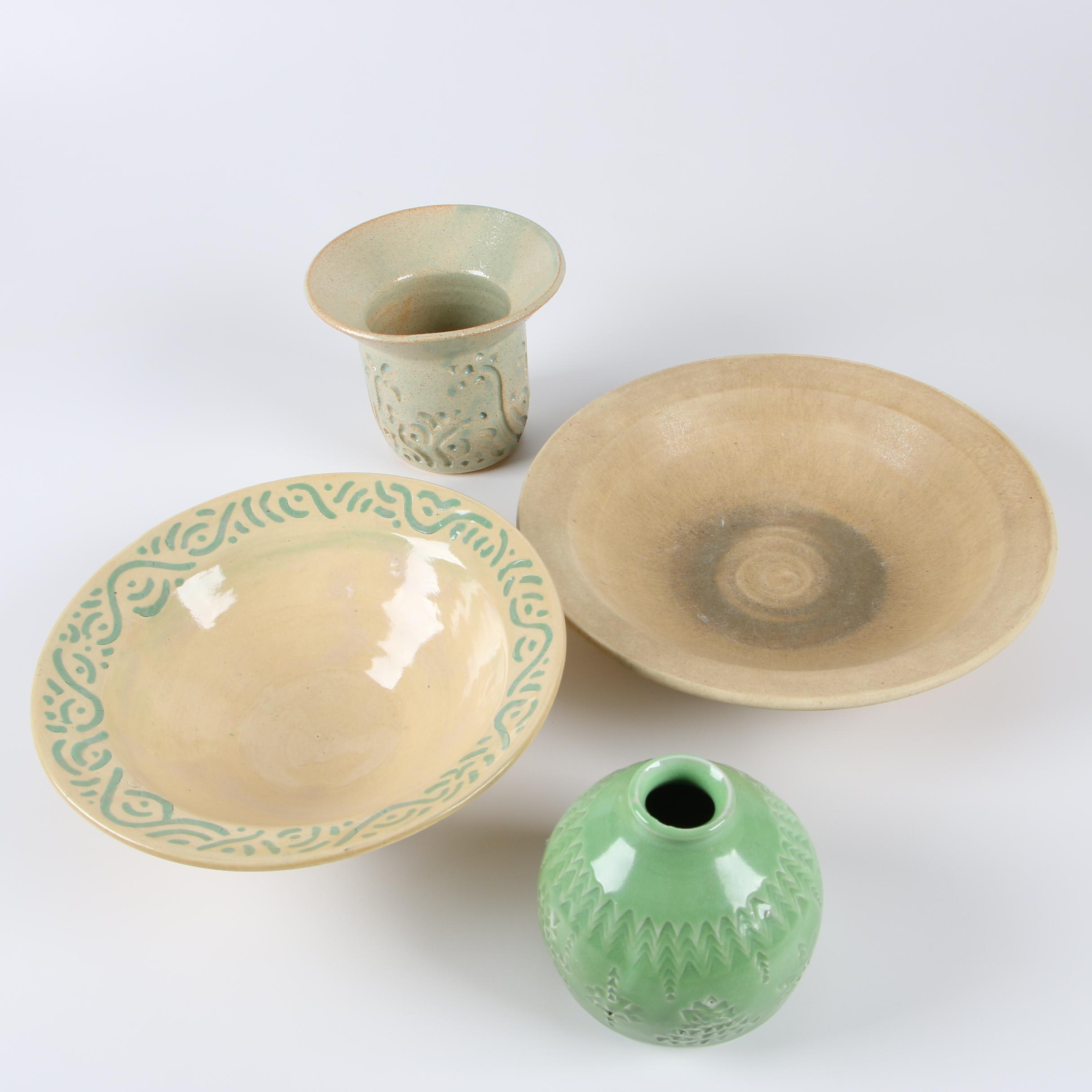Frank Spink Wheel Thrown Stoneware and Porcelain Vases and Bowls